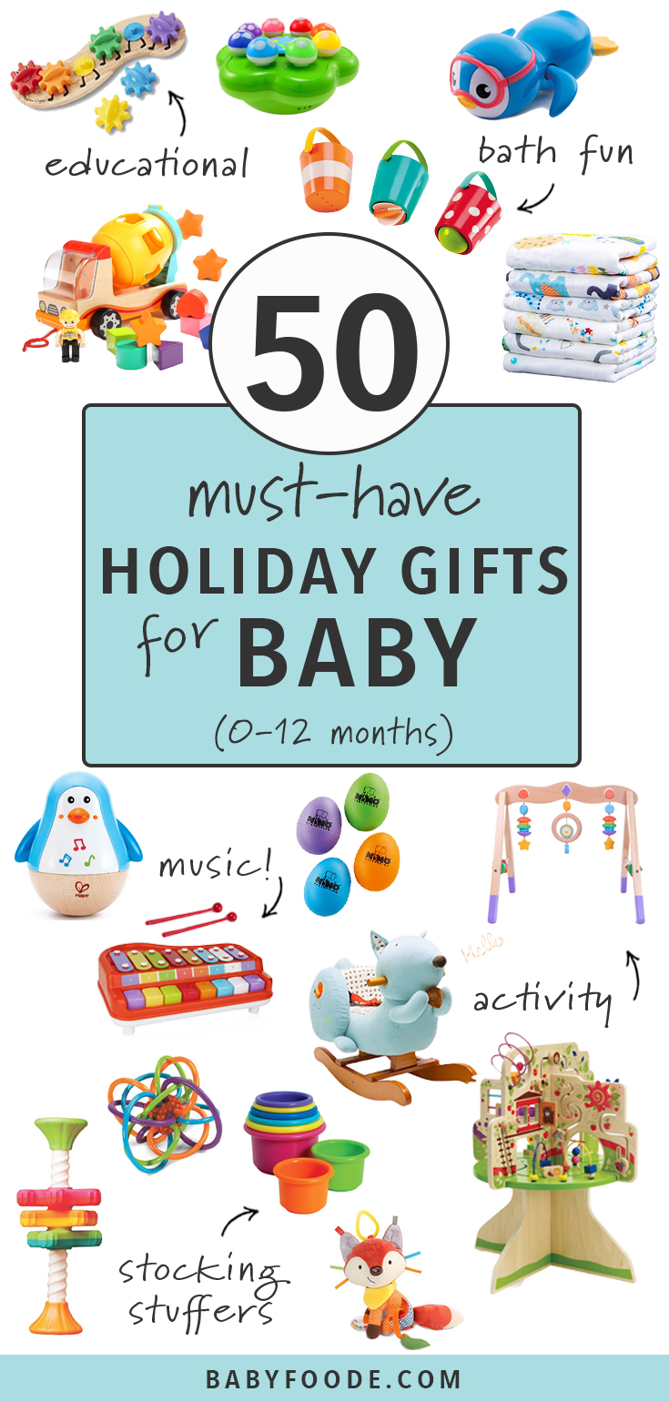 Shopping for baby for the holidays? You'll find the perfect gift for babies of all ages in this guide to 50 Must Have Holiday Gifts for Baby! From educational toys to musical instruments, bath time fun, activity mats, stocking stuffers, and more, this is your one stop post for shopping for baby! #baby #christmas #gift #giftguide