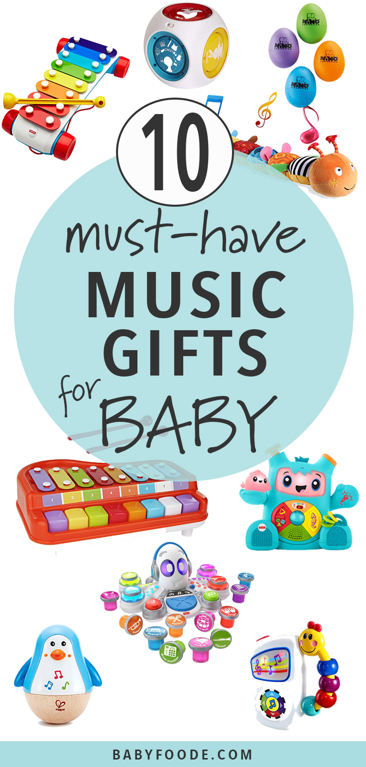Do you have a budding musician on your list this holiday season? These Music Gifts for Baby are a fun way to get a baby jam band started! Watch baby's eyes light up when you hand them their first musical instrument. All babies love music and these interactive toys will help baby find their own rhythm. #baby #christmas #gift #giftguide #music