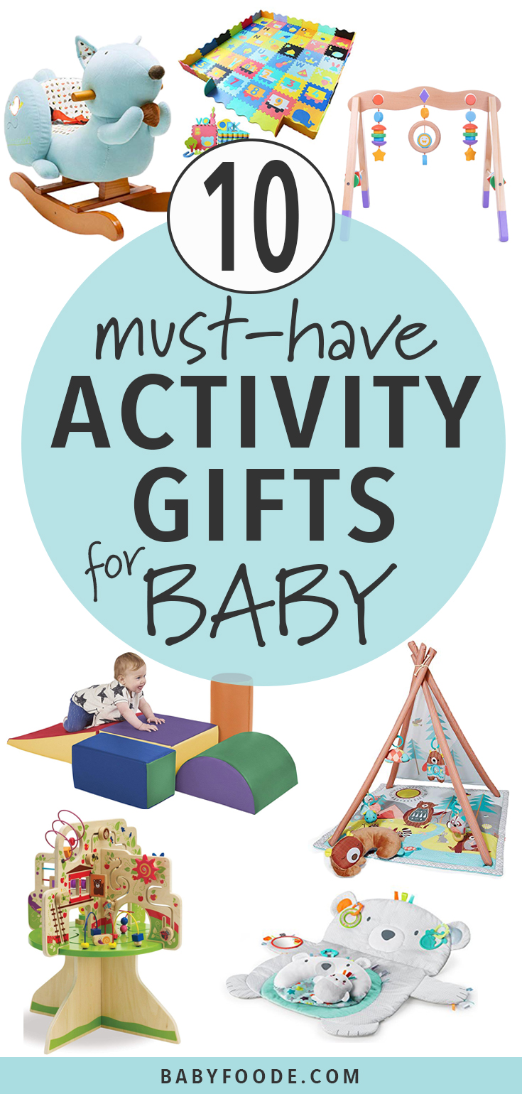 Got and mover and shaker on your list this holiday season? These Activity Gifts for Baby are great toys that help baby get their wiggles out! Whether it's tummy time or crawling time, the ideas in this gift guide are designed to let baby play and explore while stimulating both their brains and their little bodies.  #baby #christmas #gift #giftguide