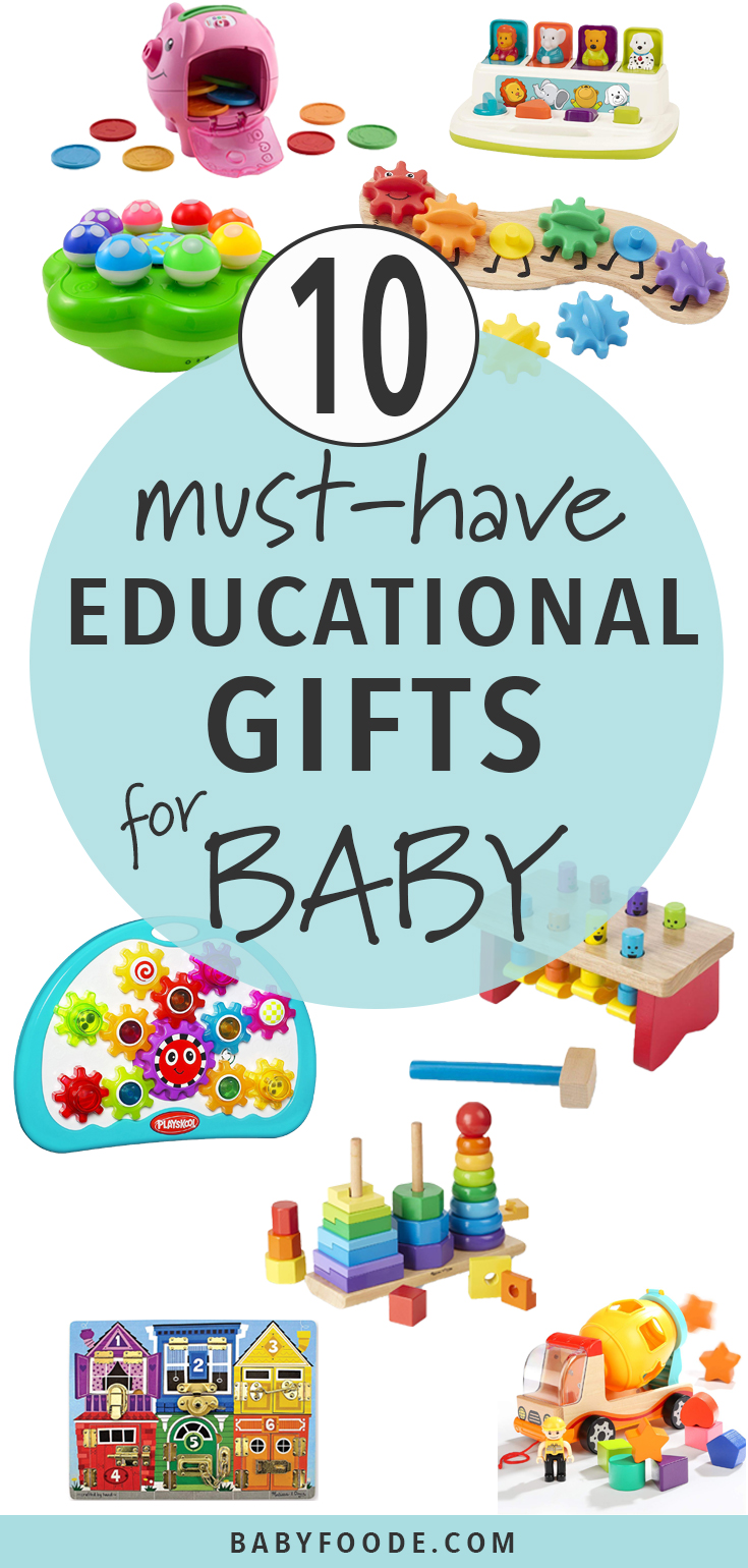 Do you have a curious baby on your list this holiday season? Check out these 10 must have educational gifts for baby. The ideas in this gift guide will make learning time more like playtime. They are fun, interactive, colorful and are great for the baby's development. #baby #christmas #gift #giftguide