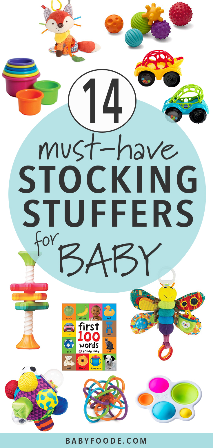 Your little one will love these tried and true stocking stuffers! Keep baby happy while you prep breakfast or open gifts with any of the ideas in this gift guide for baby's first stocking stuffers! #baby #christmas #gift #giftguide #stockingstuffers