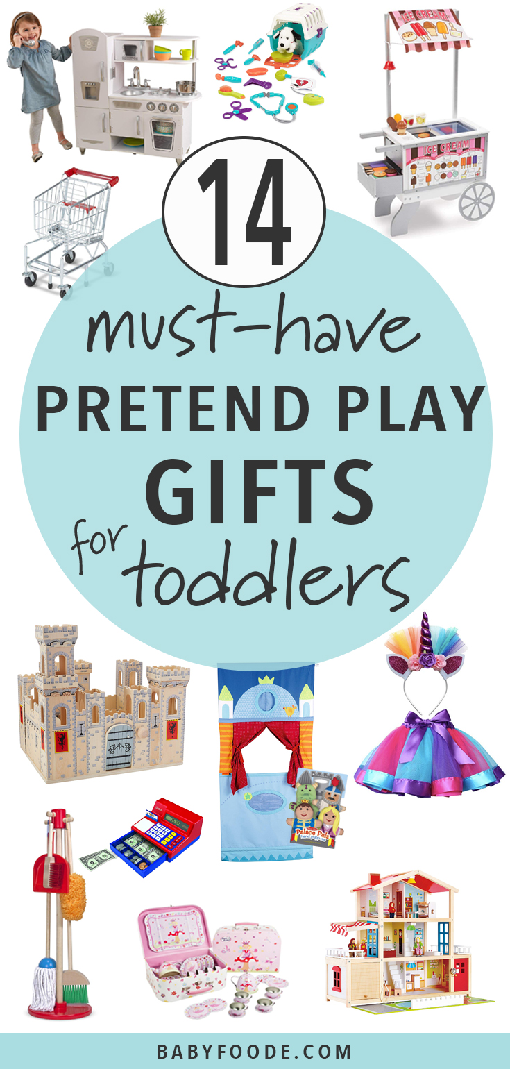 These Pretend Play toys will let your toddler's imagination run wild! Whether they are helping a sick stuffed animal get better, saving a princess (or knight) from a mean dragon or building their own ice cream empire, these toys will help toddlers imagine and create their own world of make-believe. #makebelieve #toddler #christmas #giftguide