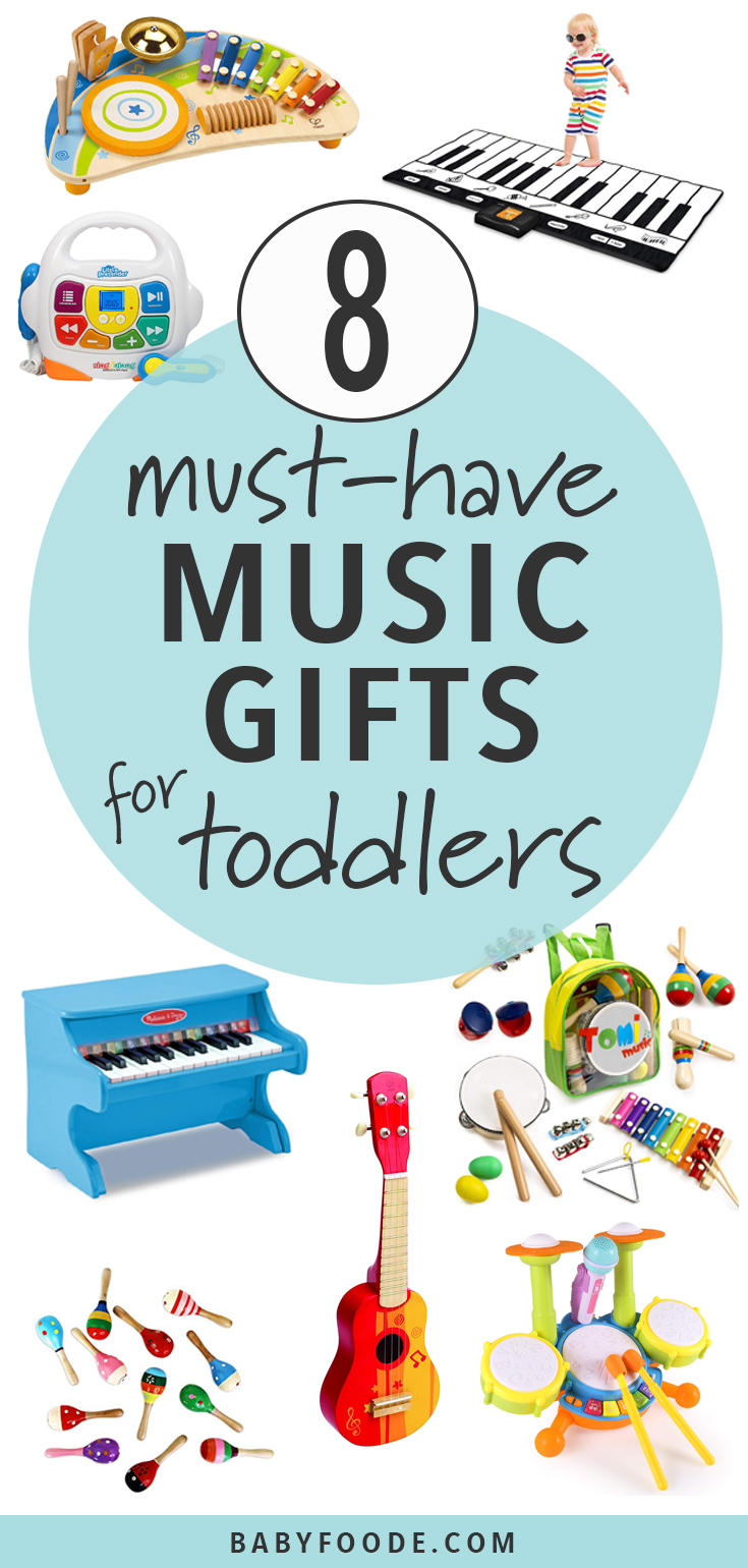 These Music Gifts will let your toddler's inner musician come out! Toddlers naturally love to make music and to perform, and these musical gifts are designed to help them make those dream a reality! #toddlers #music #giftguide #christmas