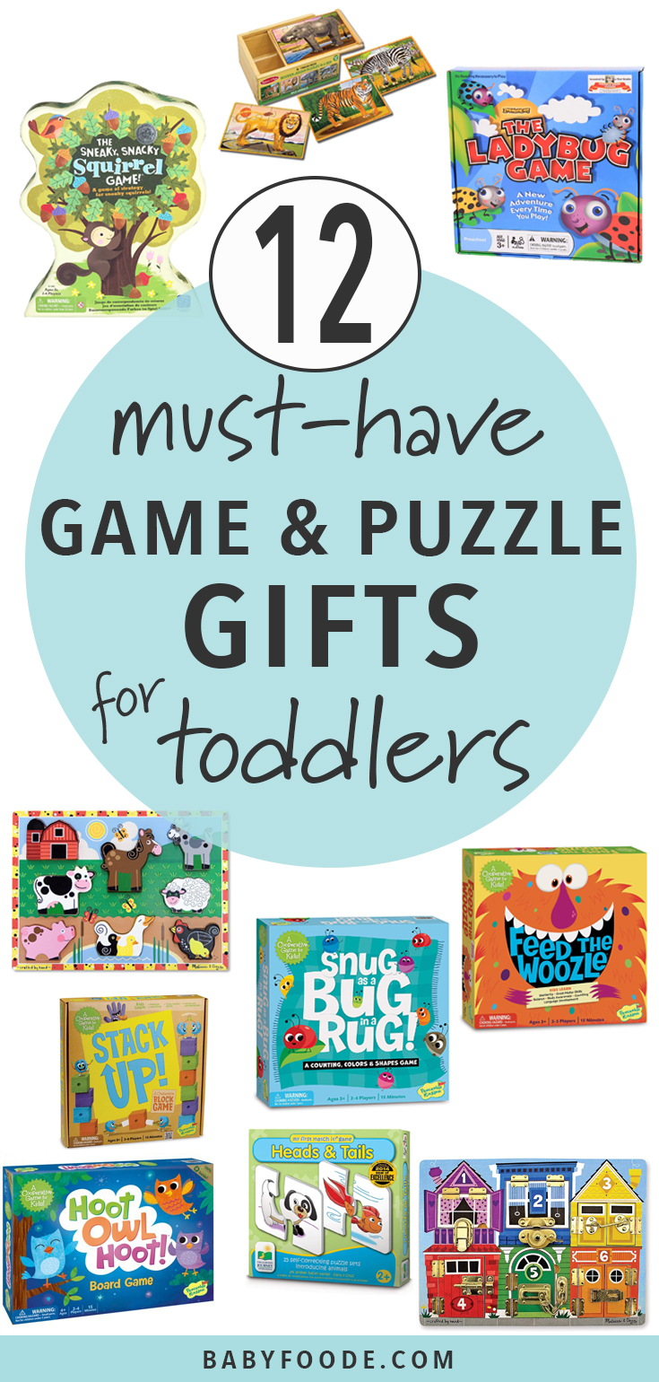 These Games and Puzzles are the perfect gifts for toddlers! Your toddler will love these fun, colorful and interactive games and puzzles and you will love that these games are cooperative games where everyone ends up a winner (no tears during game night!). #toddler #games #giftguide