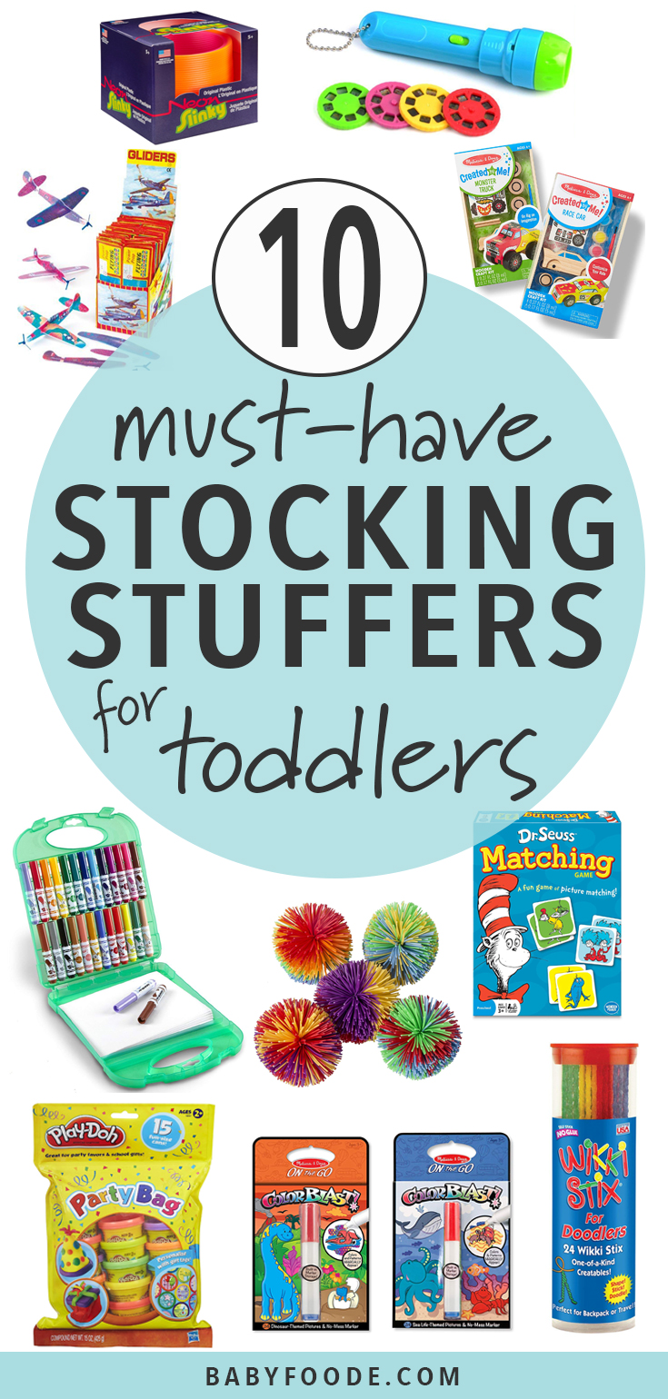 These fun Stocking Stuffers will probably be your toddler's favorite gifts of the season! These small toys pack a big impact and will provide endless hours of fun for your toddler (and you!). #giftguide #stockingstuffers #christmas #toddlers