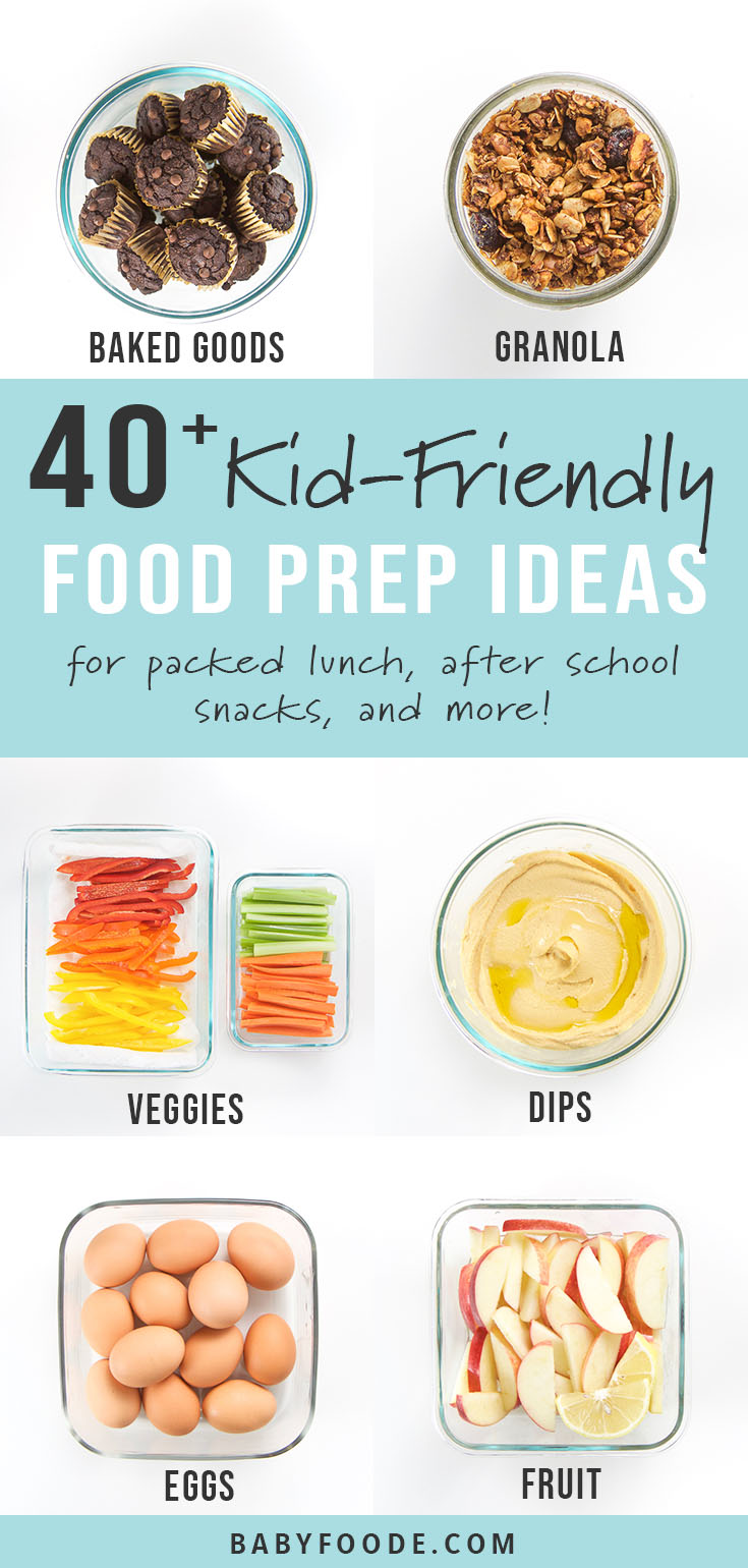 These 40+ Kid-Friendly Weekly Food Prep Ideas will give you a ton of ideas on what healthy foods you can prep for your kids on the weekend to prepare for the busy week ahead. Find kid friendly ideas for proteins, fruits, veggies, baked goods, dips and much more to meal prep on the weekend for quick and easy breakfasts, school lunches and after school snacks! #mealprep #kidfriendly