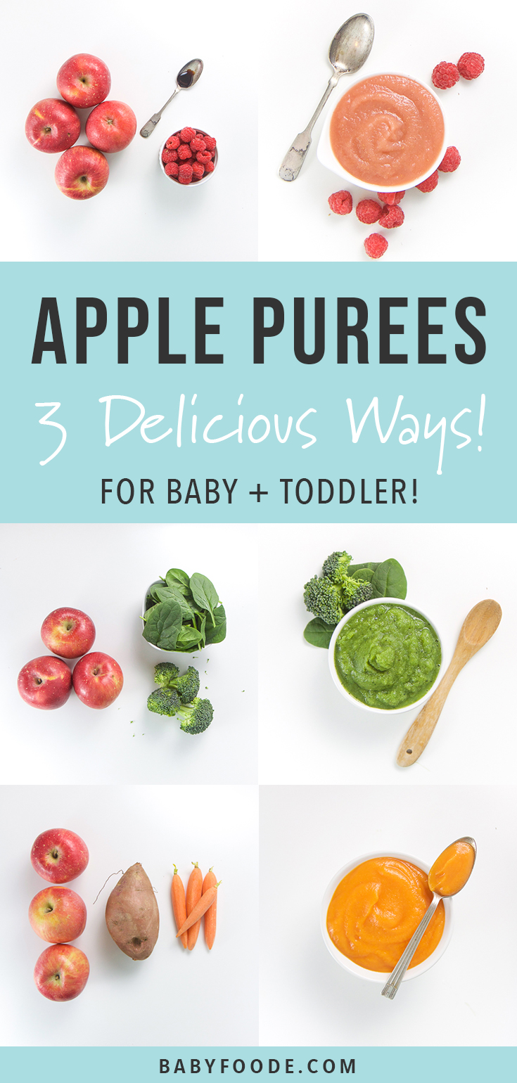 Apple Baby Puree 3 Delicious Ways! Using apples as the base ingredient, you can make these 3 different homemade baby food purees by adding in a couple of other ingredients to the apples while cooking. In 10 minutes or less per recipe, you can have over 60 ounces of flavored applesauce for meals for baby, or as a delicious snack for your toddler. #applesauce #toddlers #healthykids