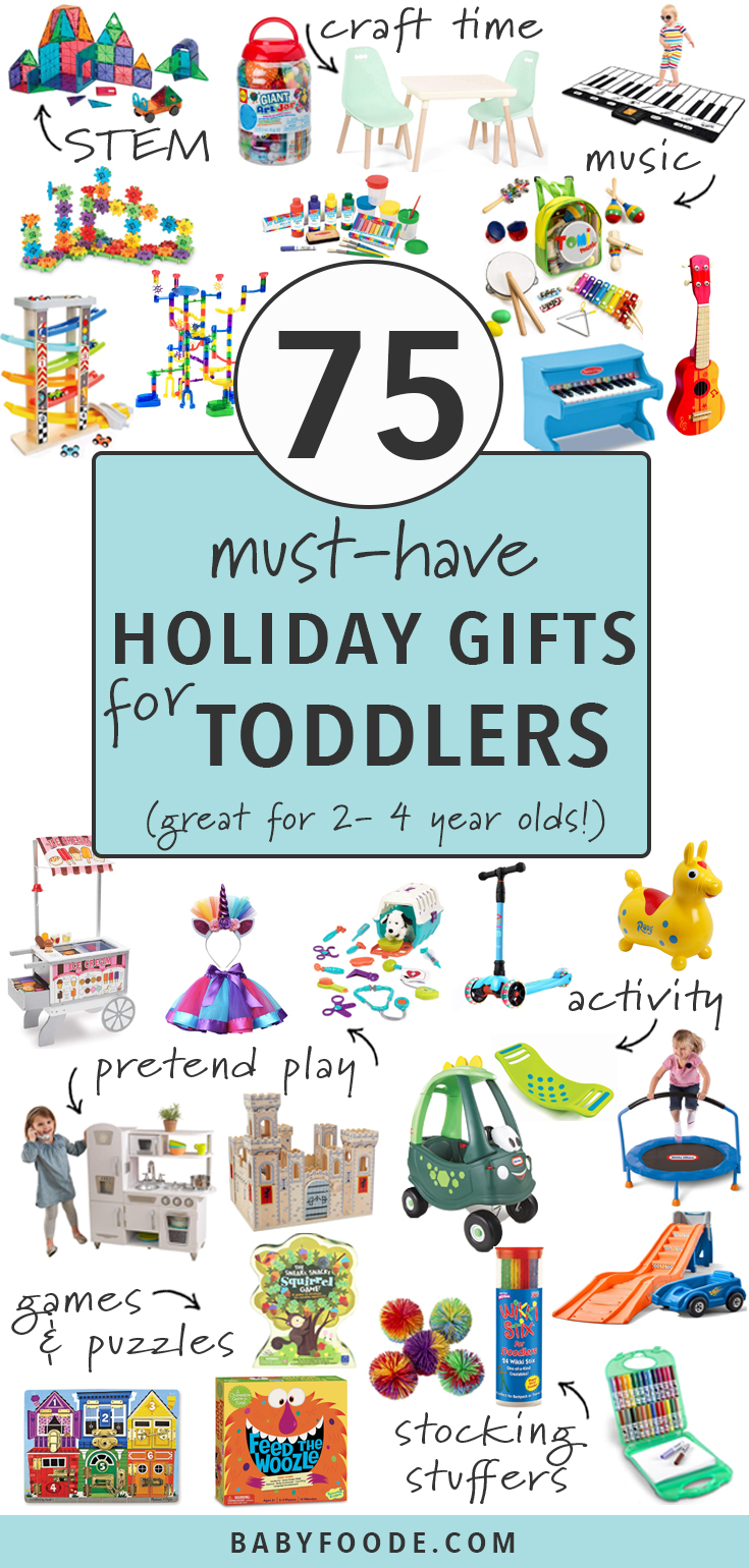 These 75 Must-Have Holiday Gifts for Toddlers are so amazing they are going to blow your toddler's little mind! Find the best gifts and ideas for toddlers ages 2-4 in 7 different categories - STEM, crafts, music, pretend play, active, games & puzzles, and stocking stuffers. Consider your holiday shopping done! #giftguide #toddlers #christmas #holidays