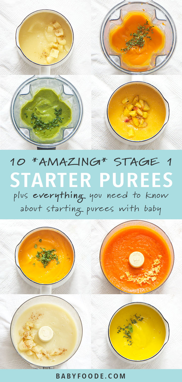 Baby is going to love these 10 stage one starter purees! They're easy to make and easy to eat! Enjoy 10 of my baby's favorite starter puree recipes, plus tips and an entire starters guide to get you in the kitchen and off to a great start. If you've been wanting to make your own baby food but don't know where to start, this is the post you need! #babyfood #puree #stageone #6months #homemade #baby