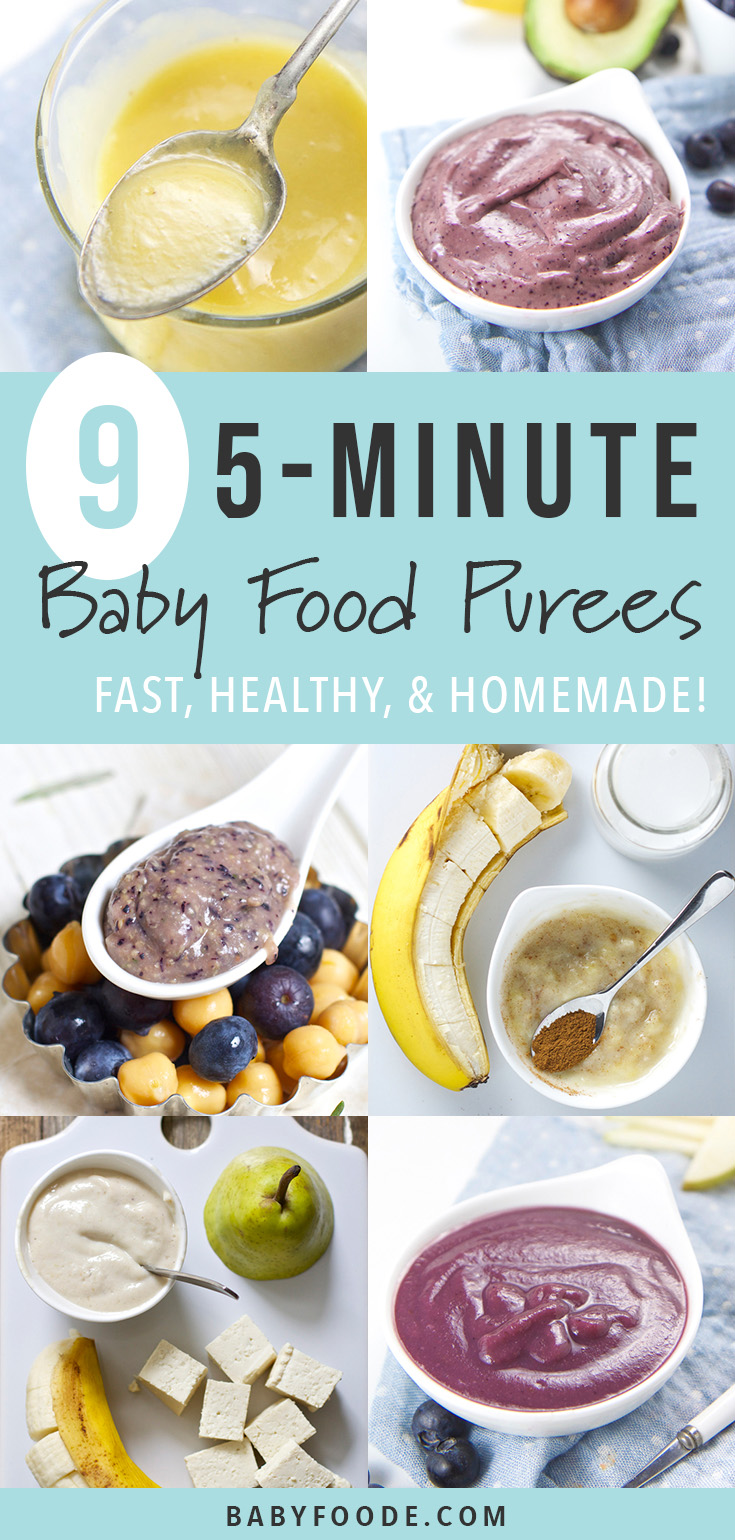 If making your own homemade baby food seems intimidating, you want to check out these NINE baby food purees that you can make in just FIVE minutes. Each recipe is healthy, fast, and delicious! Start making your own homemade baby food purees today! #babyfood #homemade #diy #healthy #baby #easy