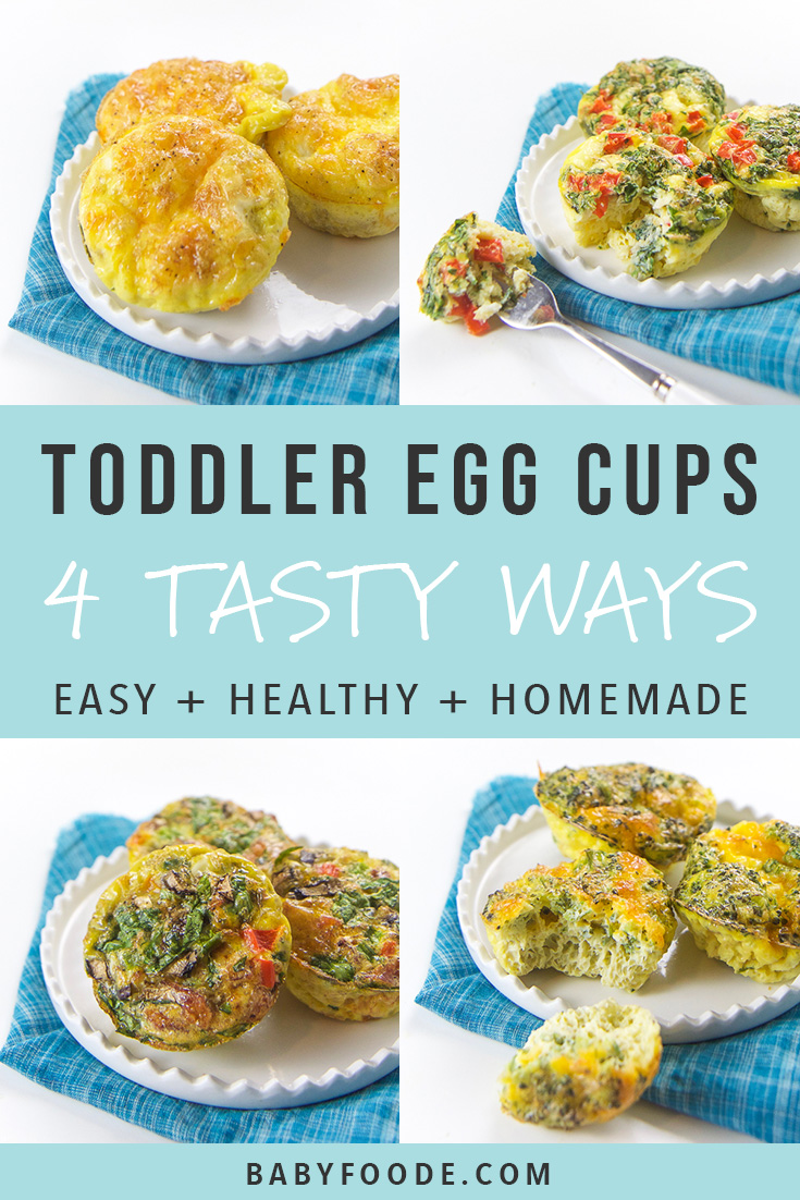 These healthy, make ahead Toddler Breakfast Egg Cups come in four different tasty combinations and are filled with vegetables, eggs, cheese and even bacon! A filling and nutritious breakfast for your toddler that is perfect for on-the-go eating. #toddler #fingerfood #breakfast #babyledweaning