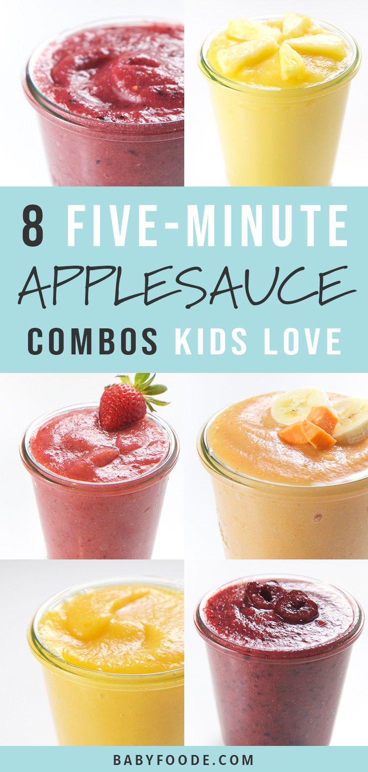These 8 delicious 5-Minute Applesauce Combos for Toddlers + Kids are so good, they will knock your kids socks off! These combinations are filled with healthy fruits and veggies (!!!) and are perfect for an easy snack, a side dish for lunch or even a quick breakfast on-the-go. #healthykids #applesauce #snack #breakfast #healthy