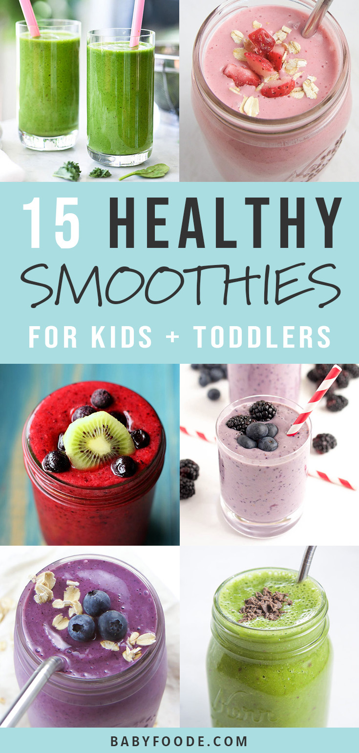 Smoothies are the BEST way to get more fruits and vegetables into your toddler's belly! They're easy, fast, and delicious and I've got 15 recipes for you to try for breakfast, snacks, and on the go treats! #smoothies #toddler #kids #breakfast #snacks