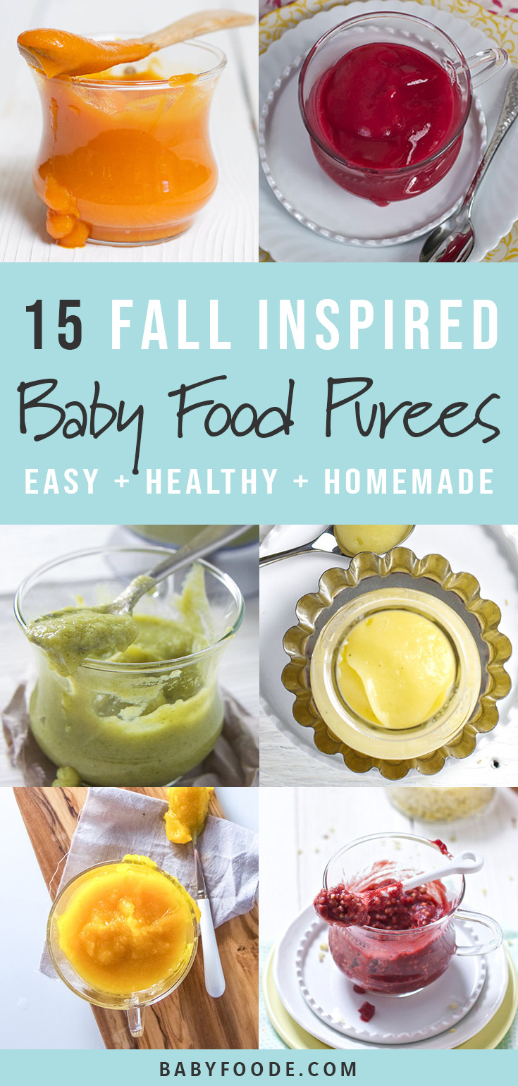 These fall inspired baby food puree recipes are perfect for babies 6 months and up! Your little one will love exploring the flavors of fall using these healthy recipes packed with flavor and all of the essential vitamins. #baby #babyfood #fall #purees