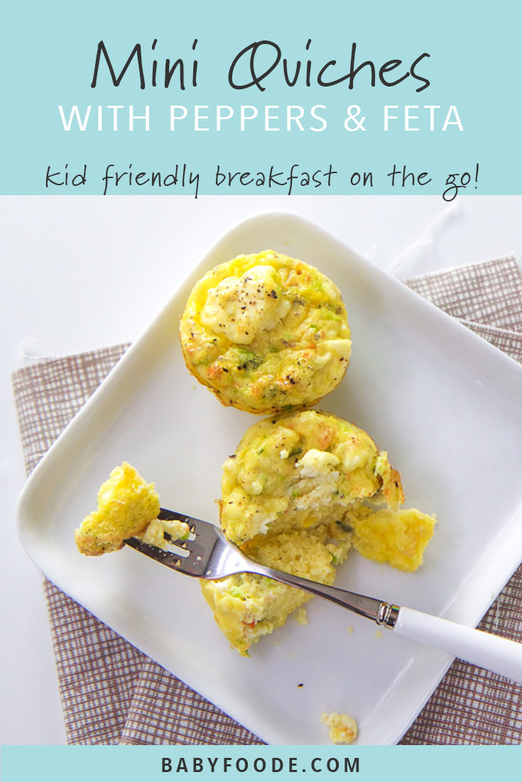 Quick and easy rainbow peppers and feta quiche is a toddler and kid friendly breakfast that can be re-heated in seconds for a healthy meal on-the-go! It's perfect for little hands, so if you're trying baby led weaning you'll want to try this easy breakfast recipe. These healthy mini quiches are kid friendly and mom approved! #breakfast #fingerfood #quiche #toddler #babyledweaning