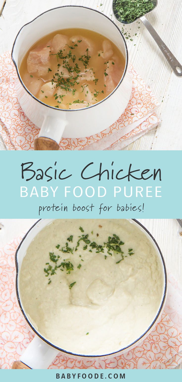 This homemade Basic Chicken Baby Puree is a great addition to your baby's favorite puree for extra protein and flavor! It's an incredibly simple recipe with big flavor and nutrition! #babyfood #baby #toddler #purees