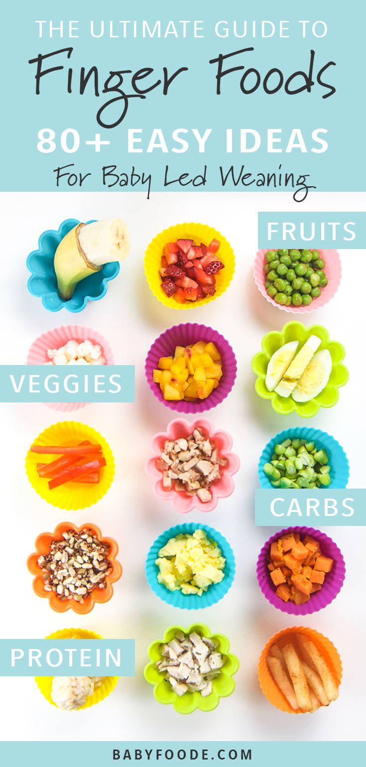 Calling all fans of baby led weaning! The ultimate guide to recipes and ideas for your baby's first finger foods! This guide has over 80 delicious finger food ideas that your baby can enjoy for their very first bite of solid food. Everything you need to know about what to serve, how to serve it and when to start serving it. #fingerfood #baby #toddler #1year #easy #healthy