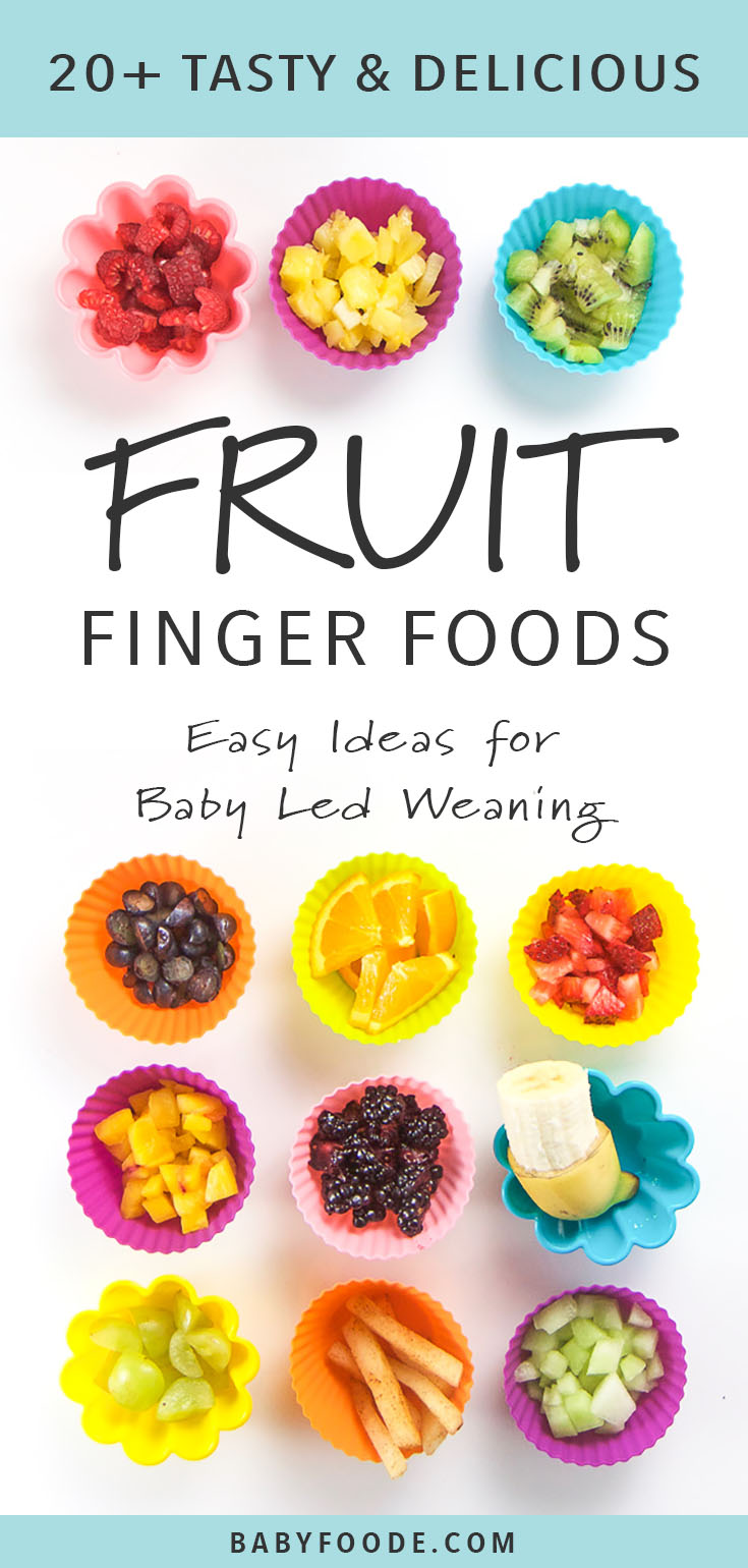 The ultimate list of fresh fruits to serve as finger foods or to offer for baby led weaning! Fresh fruit is the easiest finger food because it can be served raw. These fruit finger foods are great for travel, on the go snacking, or as a small meal. Fruit is filled with essential vitamins and minerals and is naturally sweet so babies love it. Click through for all the delicious ideas. #fingerfoods #babyledweaning