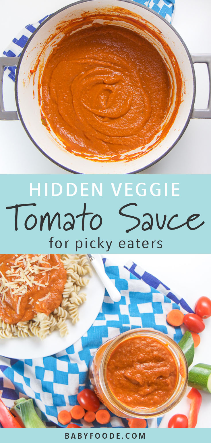The entire family will love this hidden vegetable tomato sauce! It's the best way to get picky eaters to eat their veggies! This healthy, easy homemade tomato sauce is full of nutrient dense vegetables and is packed with flavor. Your kids will never taste the difference! #marinara #healthykids #hiddenveggies #pickyeaters