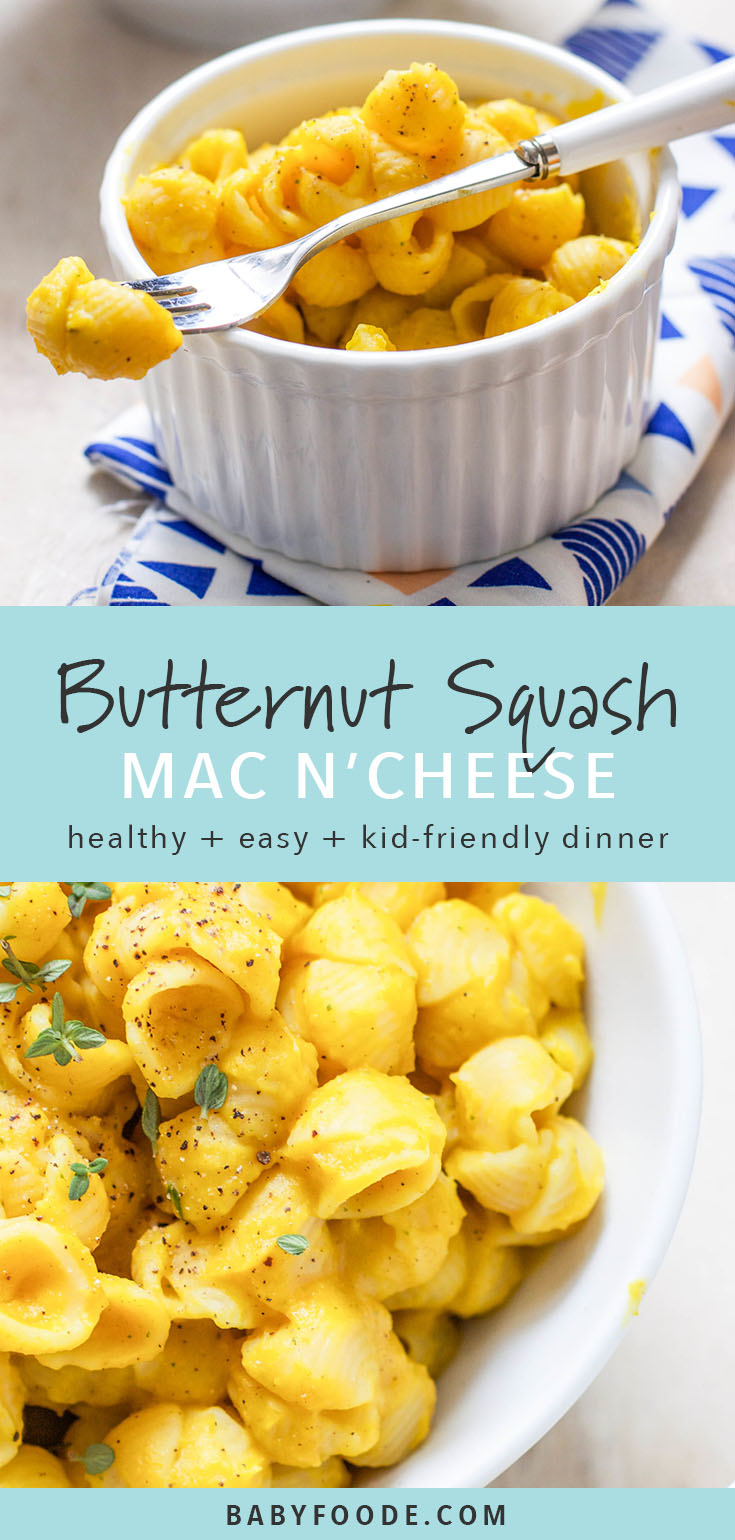 Not only is butternut squash great for babies first puree, it makes a crave worthy dinner for the entire family! You'll love this vegan butternut squash mac and cheese for toddlers and kids! #healthykids #vegan #butternutsquash #dairyfree #healthypasta
