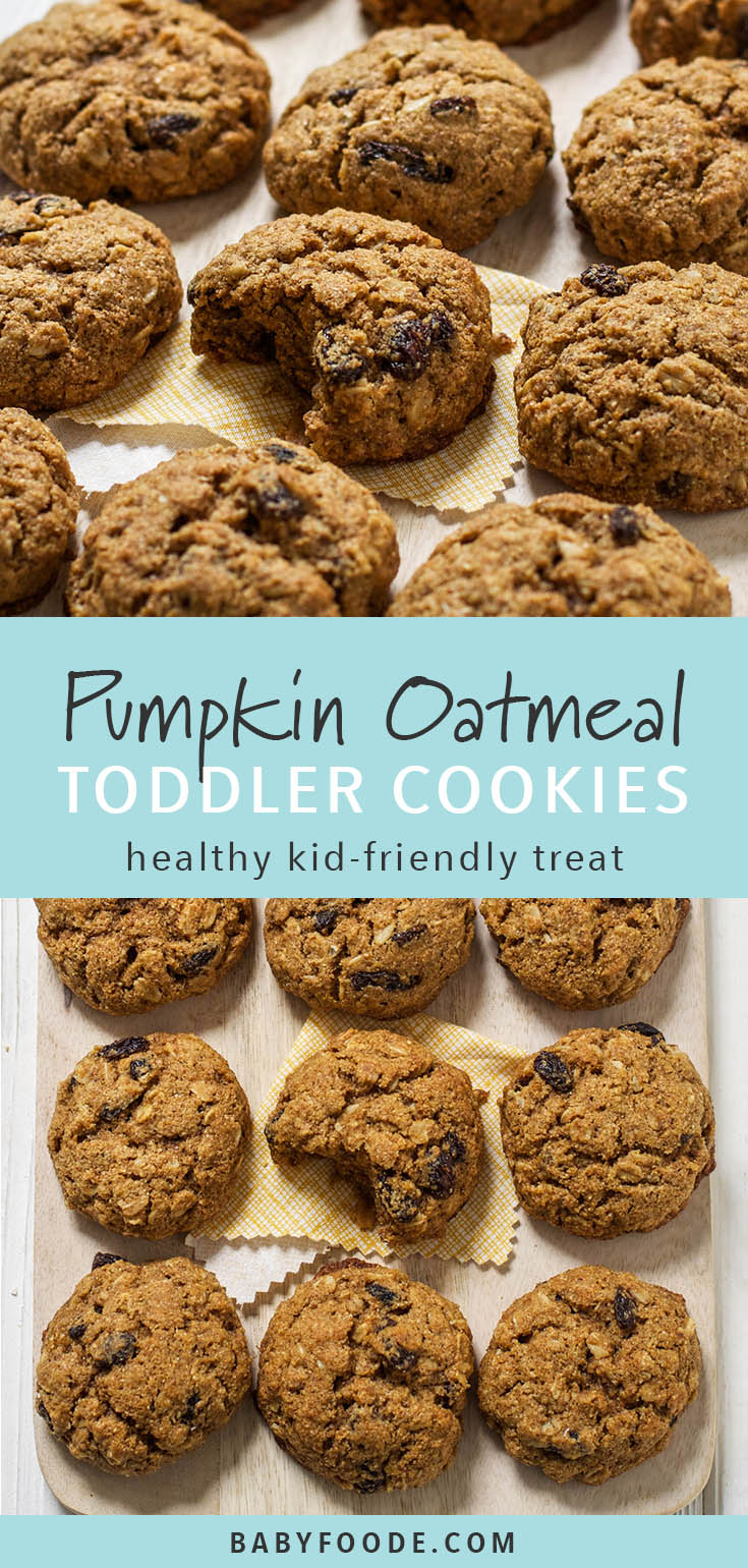 These pumpkin oatmeal cookies are the perfect fall weekend baking project. Made with pumpkin puree, oatmeal, whole wheat flour, and delicious fall spices, these are a nice sweet treat that doesn't have too much sugar. The perfect snack to take on a fall outdoor adventure. #baking #healthybaking #treat #snack #cookies #pumpkin #snack