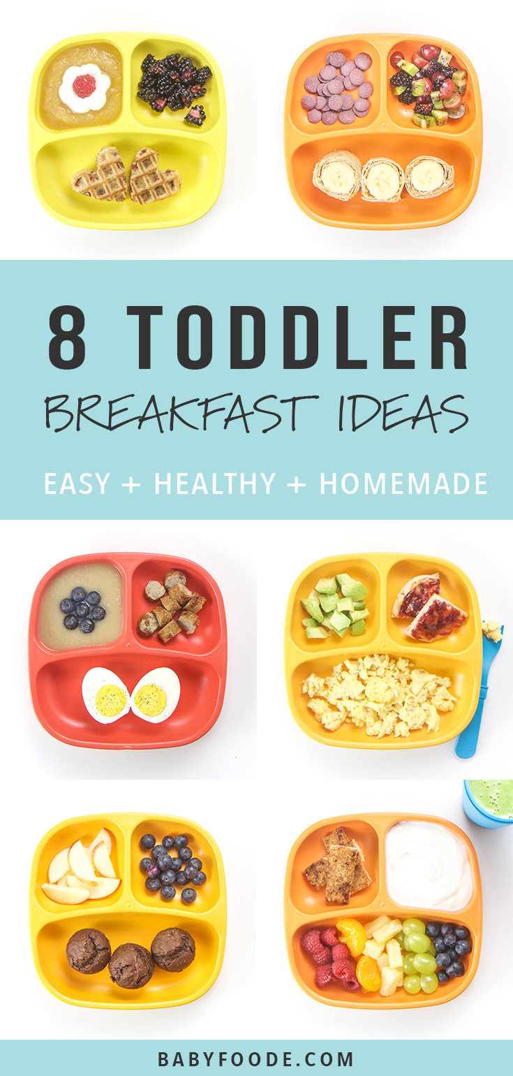 You'll love these 8 Healthy Toddler Breakfasts ideas! They're fast, easy, and healthy, filled with protein, fiber and other essential vitamins and minerals for growing toddlers! These healthy breakfast ideas will keep your toddler happy and full all morning! #breakfast #toddler