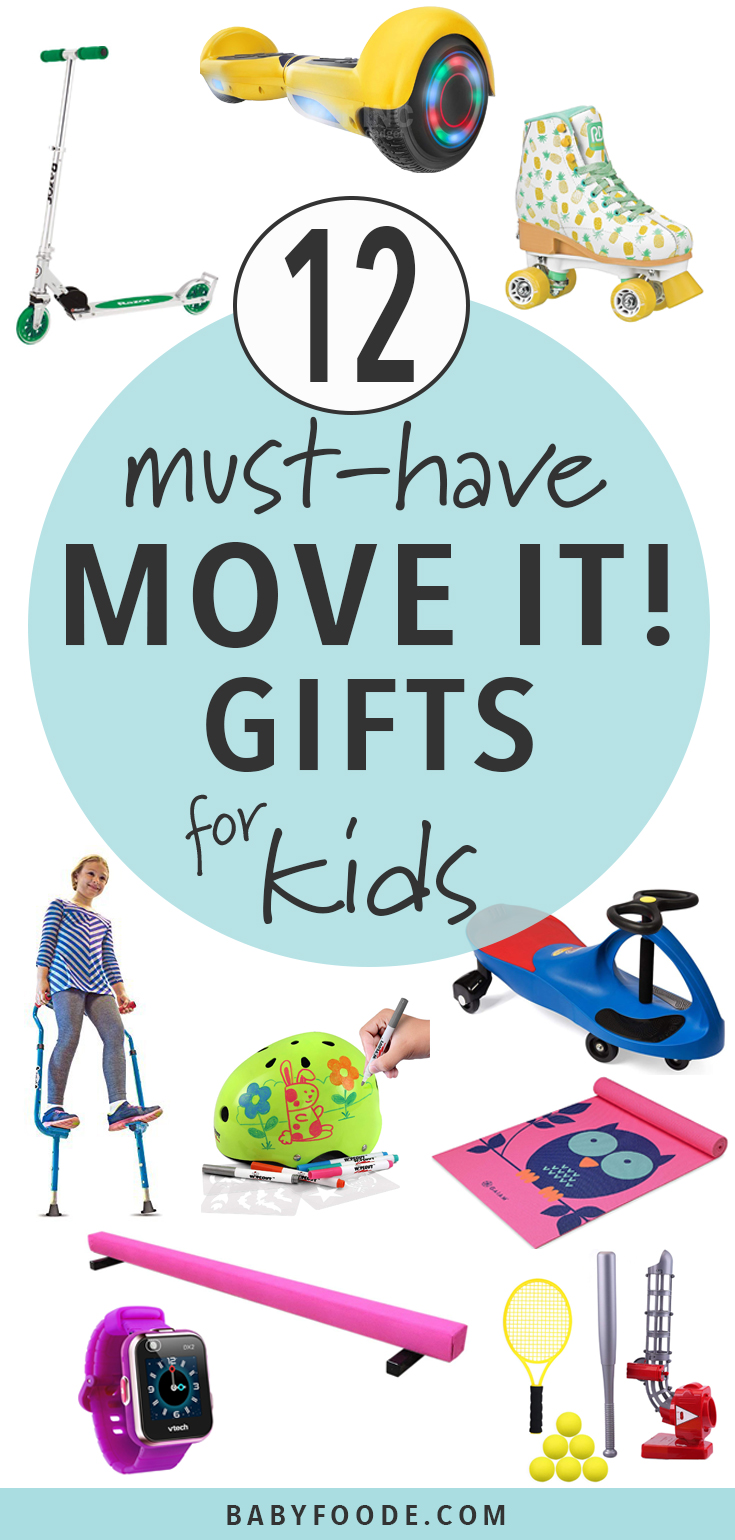 12 must have gifts for getting your kids moving! If you have a kiddo who's always on the go, they'd love to receive any one of these awesome and practical activity related gifts. #giftguide #kids #christmas #shopping