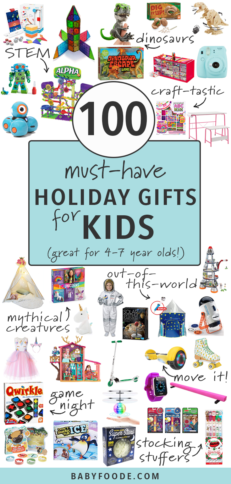These 100 Must-Have Holiday Gifts for Kids are not only going to be a huge hit on Christmas morning but they will also be a hit for the rest of year! This guide contains 8 different categories - STEM, space, mythical creatures, active, crafts, dinosaurs, games for game night and stocking stuffers. Find the perfect gift for the kid in your life aged 4-7! #giftguide #christmas #kids #holidays #shopping