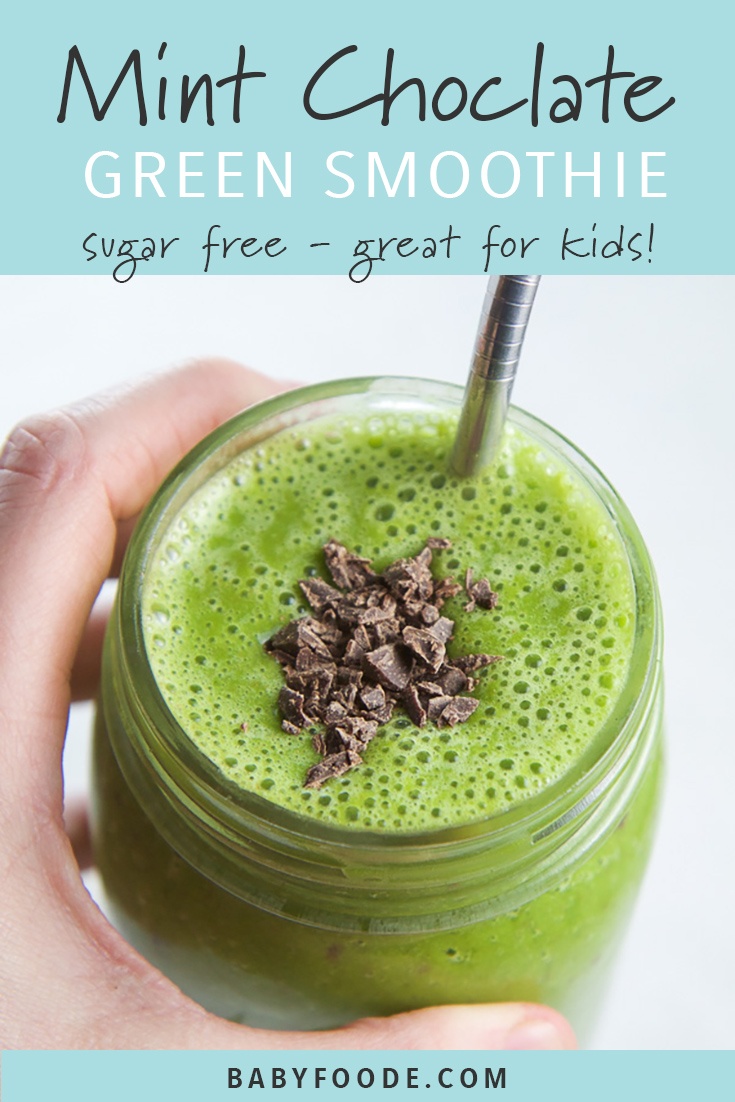 This Green Mint Chocolate Smoothie is filled with healthy whole foods including banana, spinach, and chia seeds, then spiced up with a little mint and a few chocolate chunks. This healthy green smoothie is a perfect afternoon snack for the kids or a beyond yummy on-the-go breakfast! Toddlers, kids, and yes adults too love this yummy and healthy smoothie recipe! #greensmoothie #kidfriendly