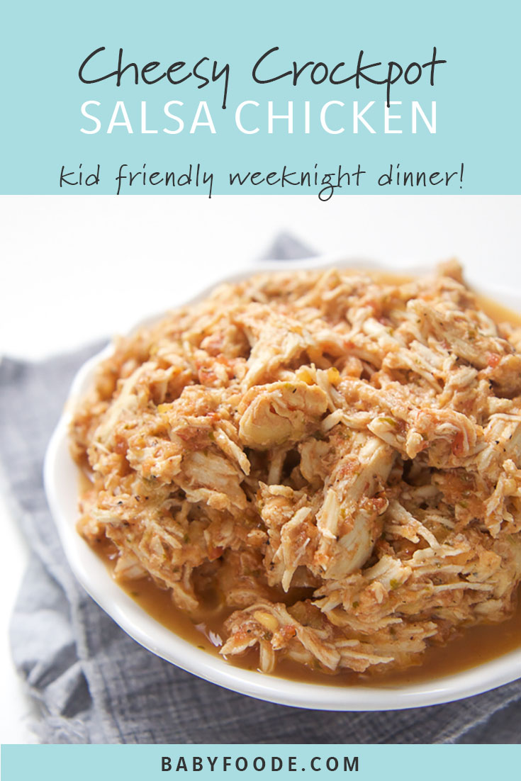 This Cheesy Slow Cooker Salsa Chicken is a flavorful way to spice up your family's weeknight dinner. This recipe is super easy and calls for a simple salsa, chicken and of course some cheese, all tossed together and cooked while you are at work or wrangling the kiddos. The hardest part, is deciding how to eat it. Don't worry, I include some of my favorite ways in the post! #chicken #crockpot