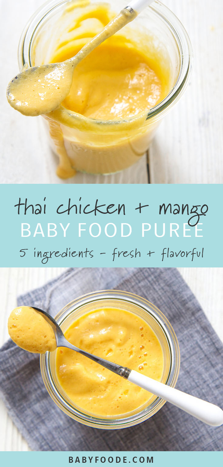This thai chicken and mango baby food puree is a flavor explosion for baby! It has enough spice to keep them wanting more, but not too much. And just look at that color! Your baby will love this easy, homemade chicken baby food puree for lunch or dinner. #babies #babyfoodpuree