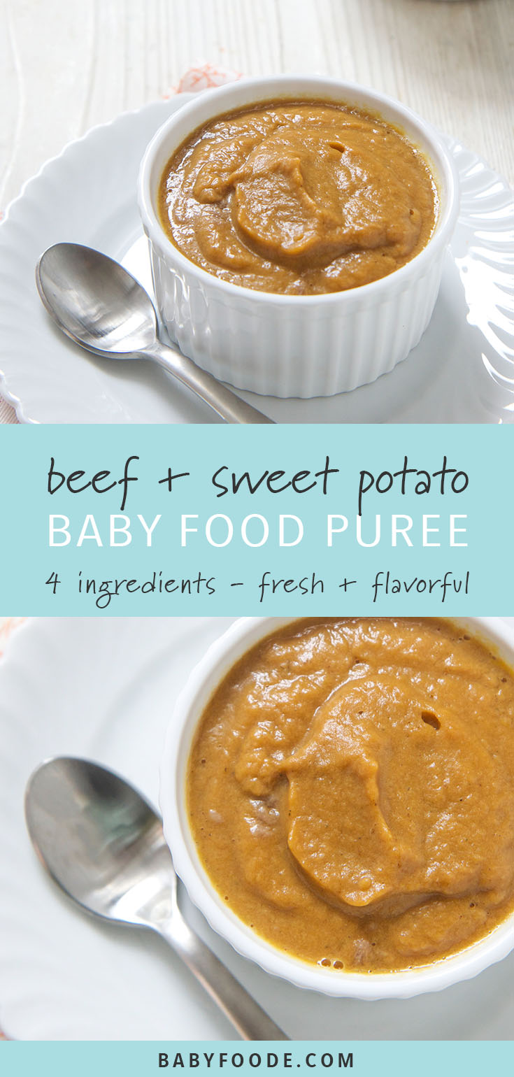 This beef and sweet potato homemade baby food puree is comfort food in a bowl - for baby! Tender, creamy, and savory, your little one will love this delicious puree for lunch or dinner. #babyfood #babyfoodrecipes