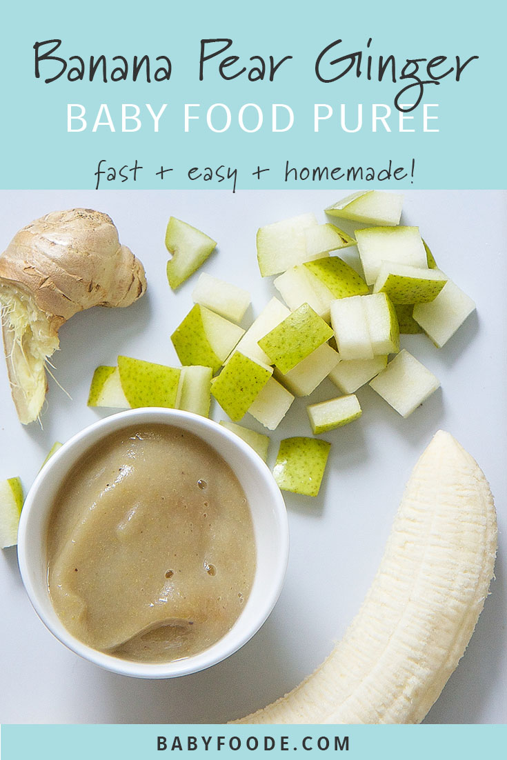 This banana and pear baby food puree is an easy starter puree for baby! This homemade stage 1 puree is super easy to make, full of flavor, and an awesome freezer stash. Made with just four ingredients - banana, pear, ginger and formula or breast milk - this homemade baby food recipe is as easy as it gets! #baby #stageone