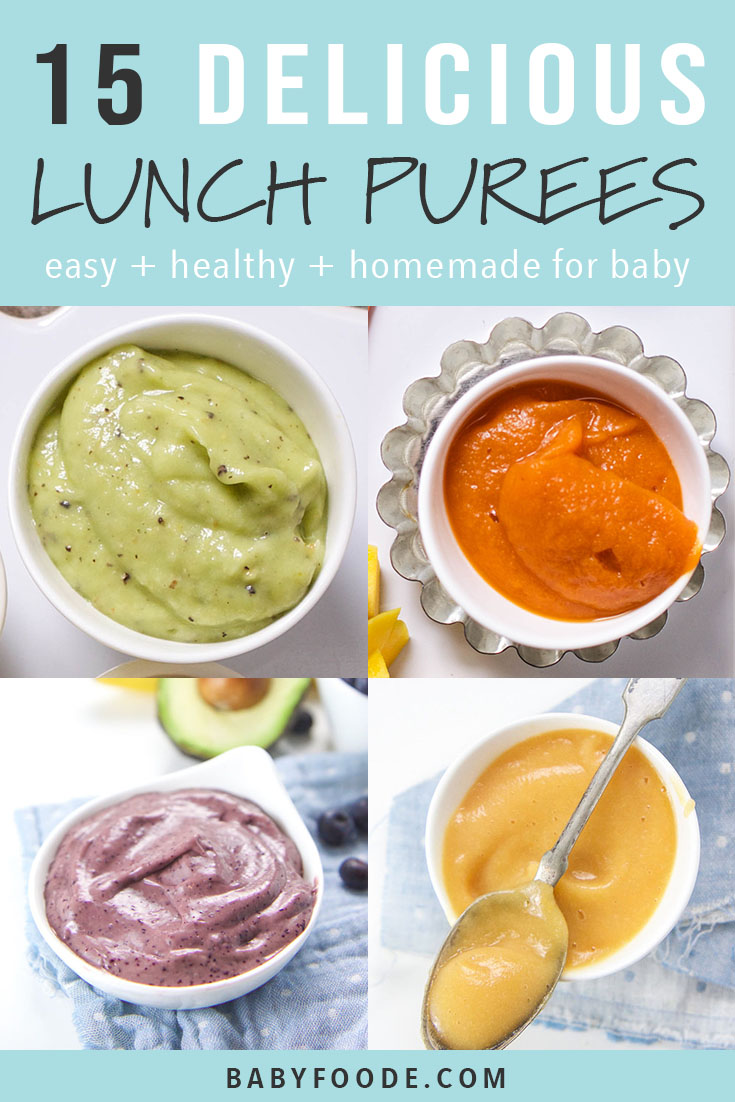 You'll love this collection of 15 easy, healthy, and delicious baby food puress for lunch! These purees are packed with fruits, vegetables, and tons of nutrition (and taste) to keep your baby fully and happy all day. #baby #babyfoodrecipes