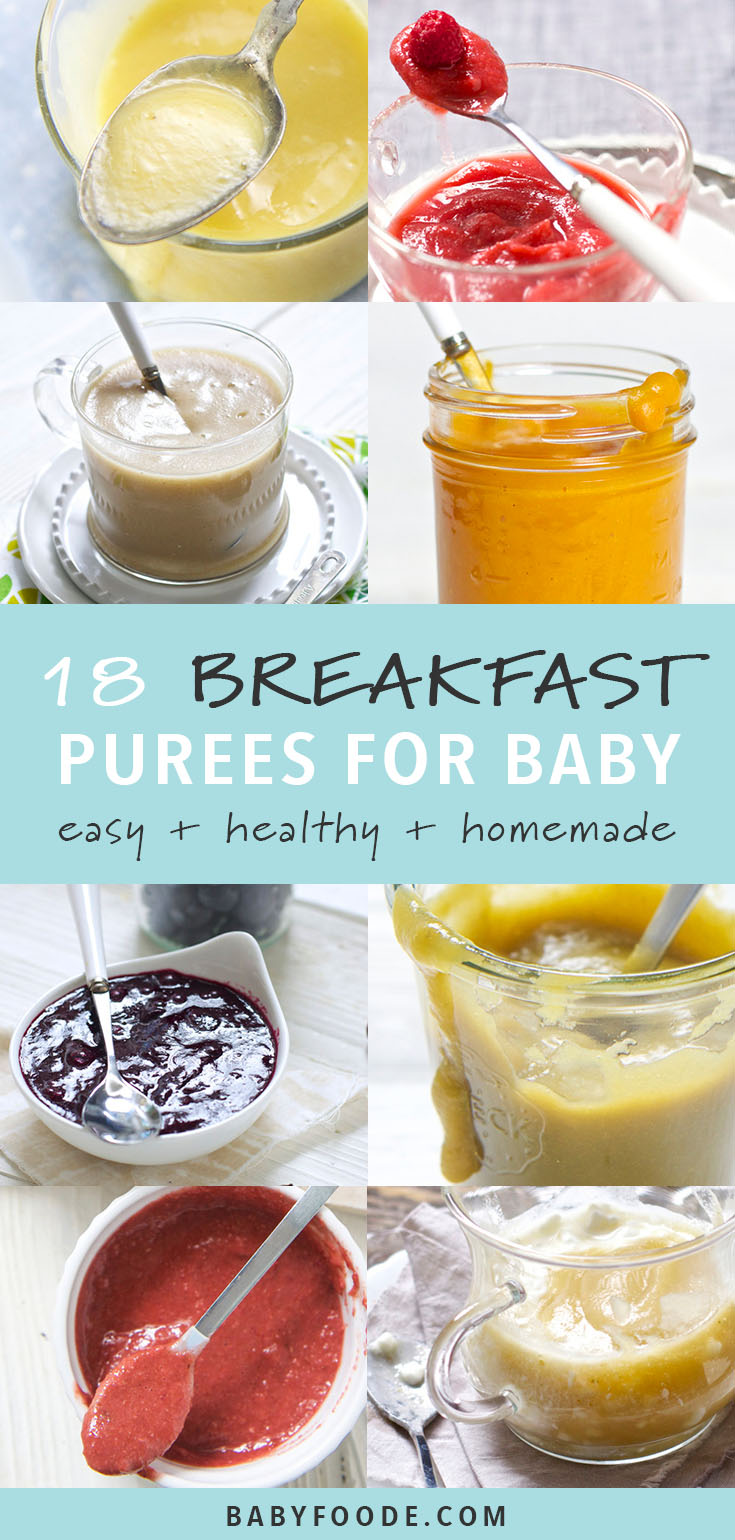 I love this collection of 18 easy, healthy, and delicious breakfast baby food purees! They're packed with fruits, vegetables, and tons of nutrition (and taste) to keep your baby fully and happy all day. Your baby will devour these easy, healthy breakfast purees! #baby #breakfast