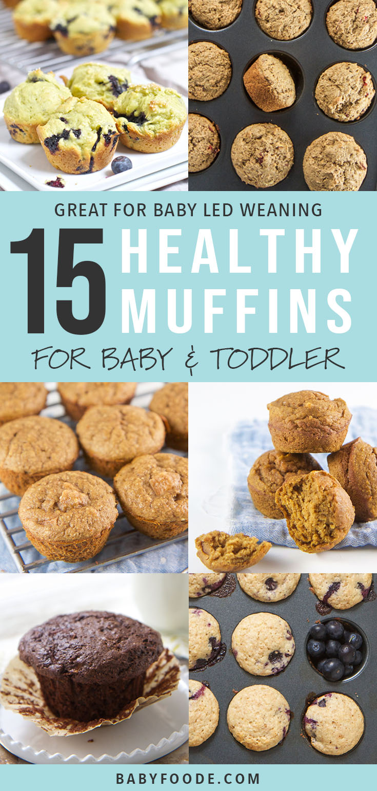 15 easy, healthy muffin recipes for babies and toddlers! Your kids will love these delicious muffins for breakfast, snacks, and on the go treats. They're also a perfect first finger food or for baby led weaning. Each recipe is filled with fruits, vegetables, whole grains and healthy fats - so they're as healthy as they are delicious! #muffins #kidfriendly