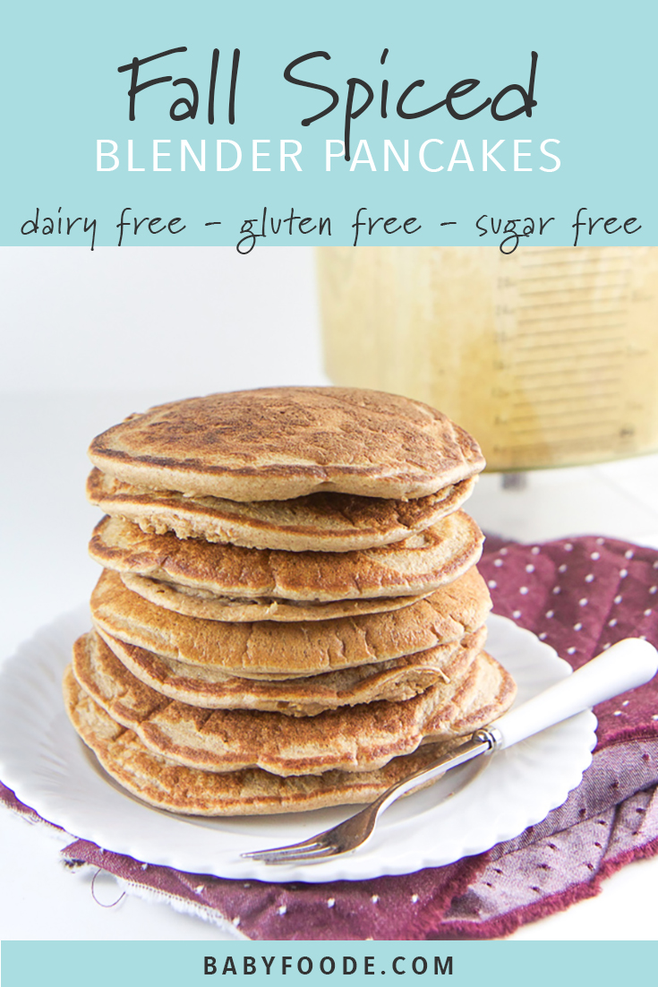These fall spiced blender pancakes are gluten free, refined sugar free and dairy free and are filled instead with wholesome oats, one banana, a splash of almond milk and a big pinch of warming spices. The best part - they are 100% made in a blender and the prep time is under 4 minutes! These are a big hit with toddlers and kids for breakast (or anytime!). #pancakes #glutenfree