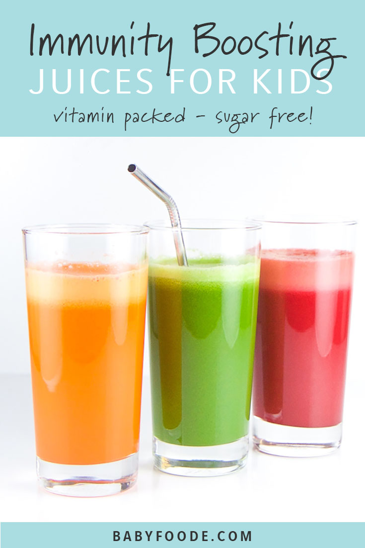 These three immunity boosting juice recipes are fully loaded with nutrients to help boost your kiddos immunity. Healthy, easy and totally tasty, your kids and toddlers will love these vegetable juice combinations! #juicing #kidfriendly