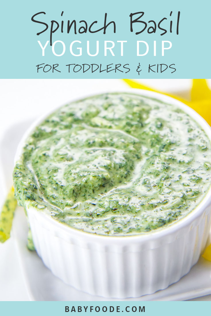 Struggling to get your toddler to eat their vegetables? I hear you. Homemade yogurt dips for veggies to the rescue! This Spinach and Basil Yogurt Dip is easy, healthy, and delicious. Your toddlers and big kids will be so excited to dive in and chow down! #kidfriendly #snacks