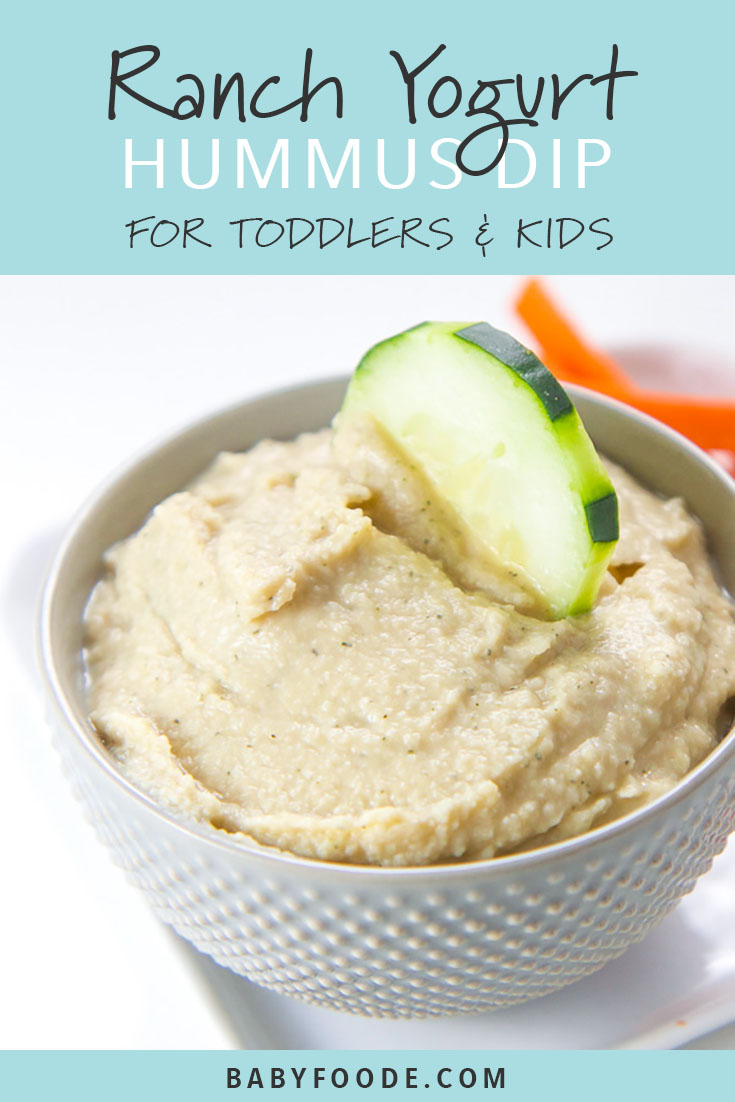 Struggling to get your toddler to eat their vegetables? I hear you. Homemade yogurt dips for veggies to the rescue! This Ranch Yogurt Hummus Dip is easy, healthy, and delicious. Your toddlers and big kids will be so excited to dive in and chow down! #kidfriendly #snacks