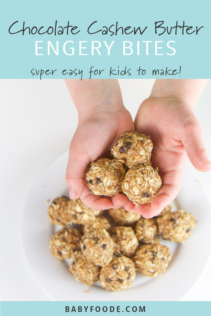 Cooking with kids is fun and delicious with these healthy, no bake cashew butter, oatmeal, and chocolate energy bites! They're dairy free, refined sugar free, gluten free, and peanut free. They're great for toddler and kid lunch boxes, after school snacks, travel snacks, and more. Kid friendly fun times ahead! #snacks #kidfriendly