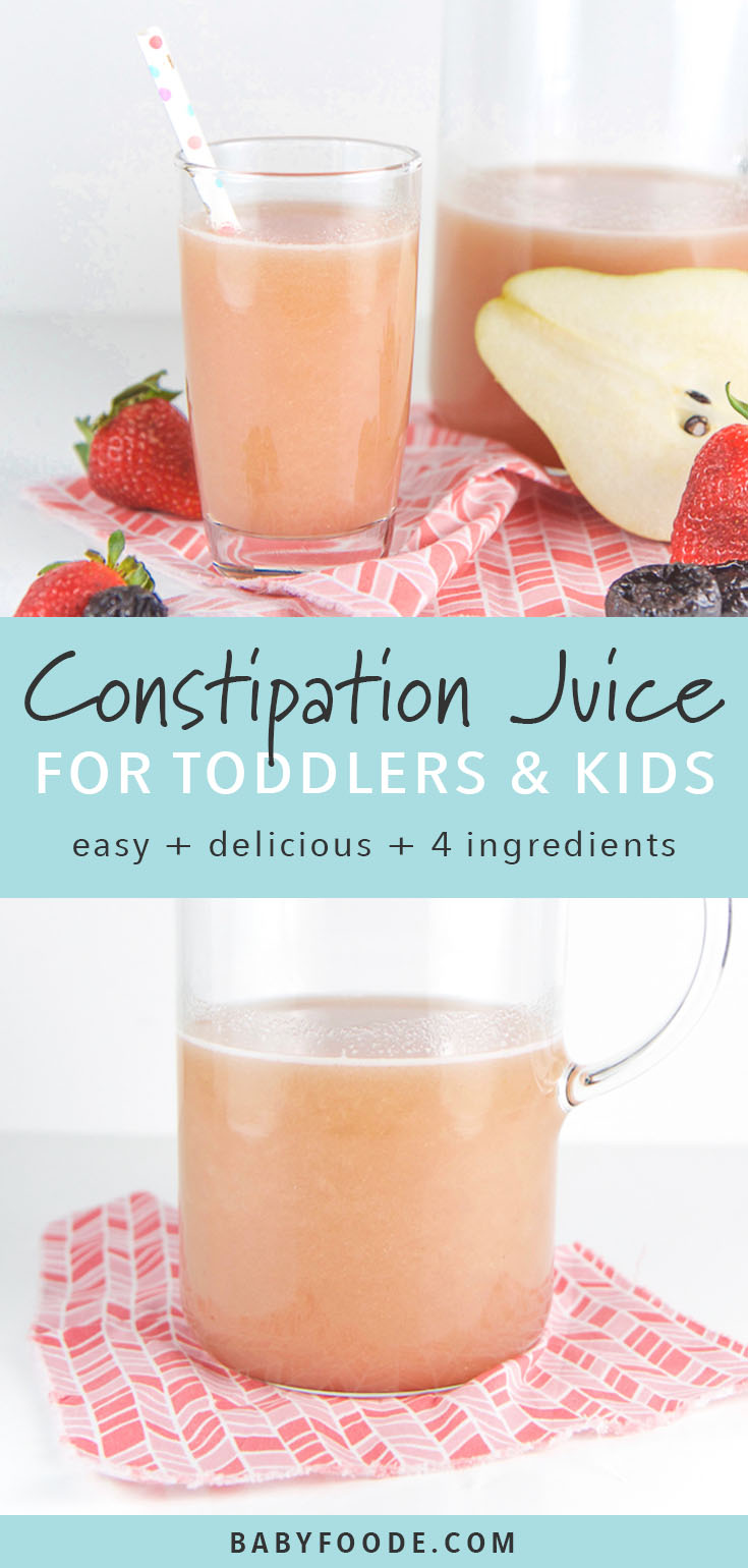 This homemade constipation juice is the perfect natural constipation remedy for both toddlers and older kids alike - no juicer required! This healthy juice is made in the blender with fresh pears, strawberries, prunes and a touch of honey. It's a homemade remedy that really works and that your kids will love to drink! #kids #toddlers
