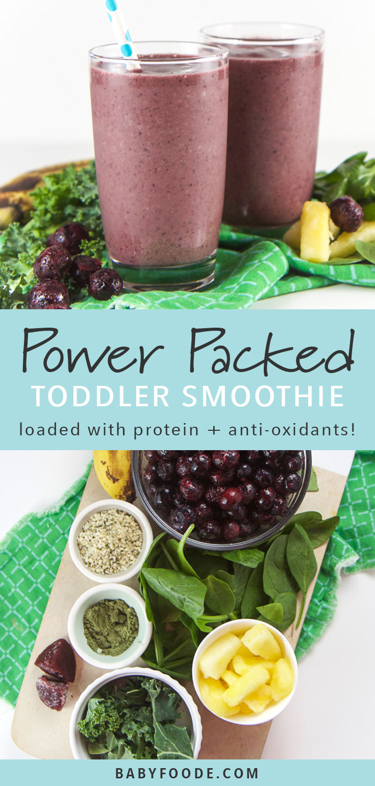 This Power Smoothie is a plant based breakfast smoothie loaded with spinach, kale, blueberries, pineapple, beets, probiotics, antioxidants and an enzyme blend that is so good that even the pickiest of eaters will devour it! Start their morning on the right foot with this healthy, protein packed, vegan breakfast smoothie! #plantbased #smoothie