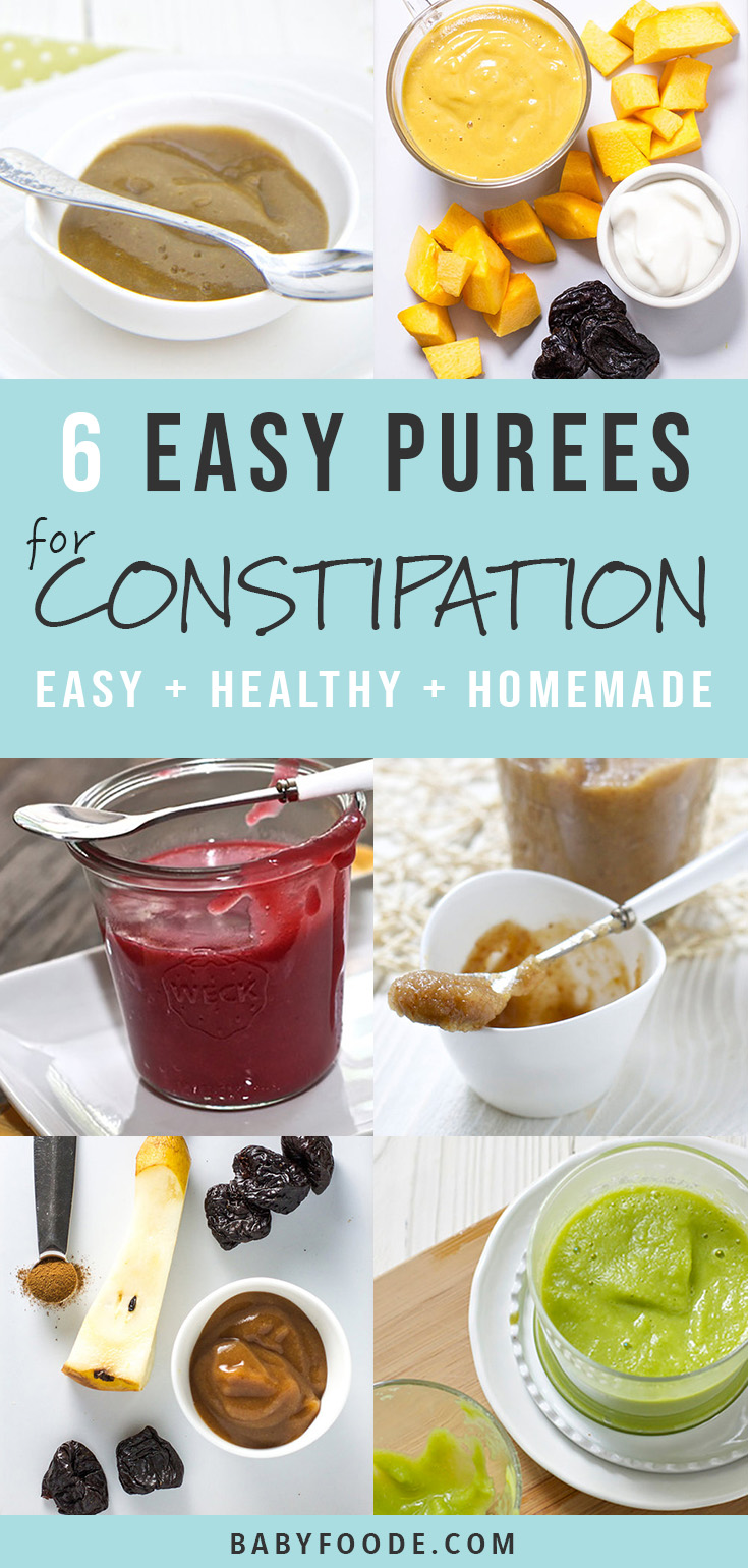 Treating and preventing constipation in babies and infants is something every parent struggles with. These 6 Baby Food Purees are an all natural homemade remedy to help relieve baby's constipation with no fuss from your little one. #baby #constipation