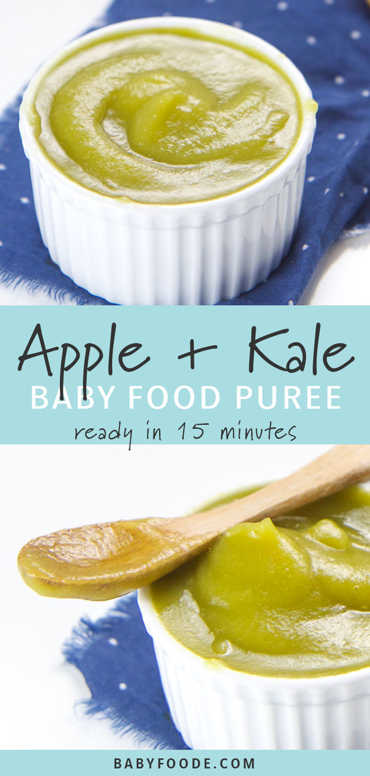 This smooth and sweet Apple and Kale Baby Baby Food Puree is a fun and easy way to introduce mighty kale to your little one! This easy stage 1 puree requires just 2 ingredients, and is a delicious starter puree that baby will love! Great for babies 6 months and old, make a batch of this apple and kale puree for a quick and easy freezer stash tody. #babyfood #baby