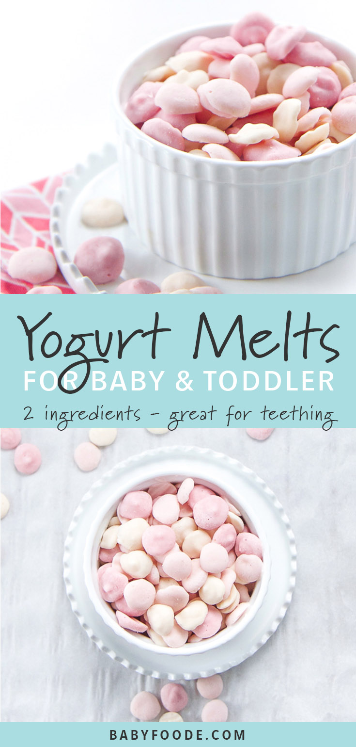Your toddler will LOVE these healthy, homemade 2-Ingredient Yogurt Melts. They're a cold refreshing treat or snack, and a perfect gumming tool to help ease teething pain! Each healthy melt is loaded with protein, probiotics and essential vitamins and minerals from colorful fruits and vegetables! #toddler #teething