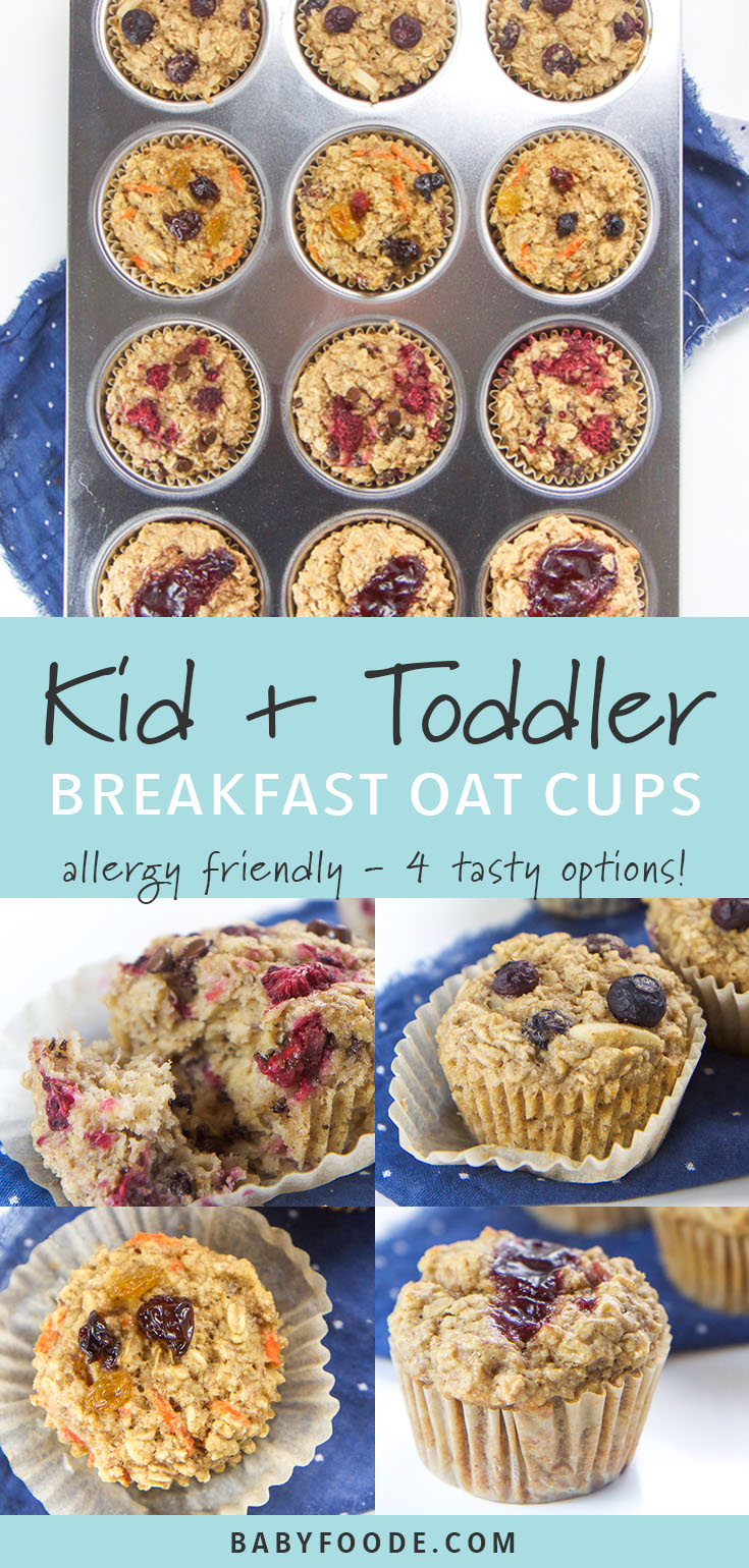 These allergy-friendly Toddler Breakfast Oat Cups are about to make your crazy mornings a whole lot easier (and more delicious)! They are made with whole food ingredients such as oats, bananas, coconut oil and maple syrup and are refined sugar-free, dairy-free, soy-free, nut-free and gluten-free! #glutenfree #kidfriendly