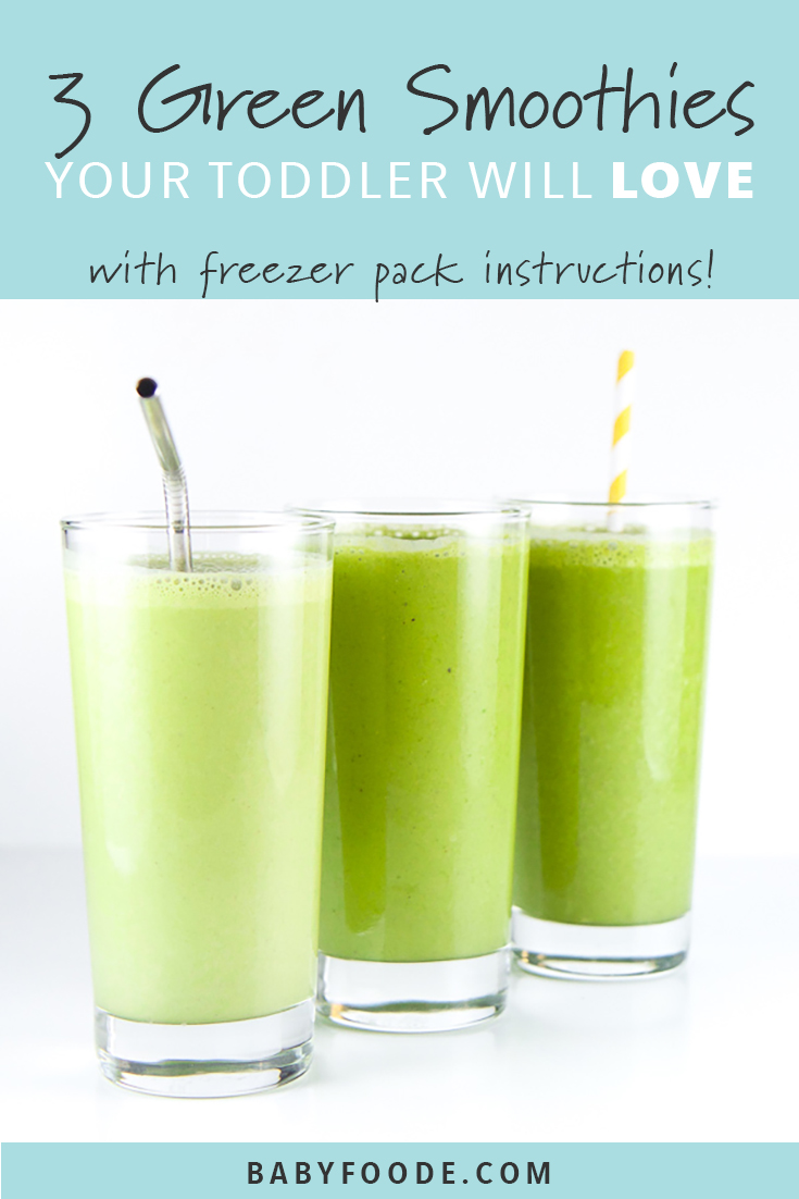 Your toddler will love these three green smoothie recipe combinations! Packed with fruits and vegetables, this freezer packs will please even your picky eaters! Toss 'em in the freezer and whip one up anytime your toddler (or you) is hungry! #smoothie #kidfriendly