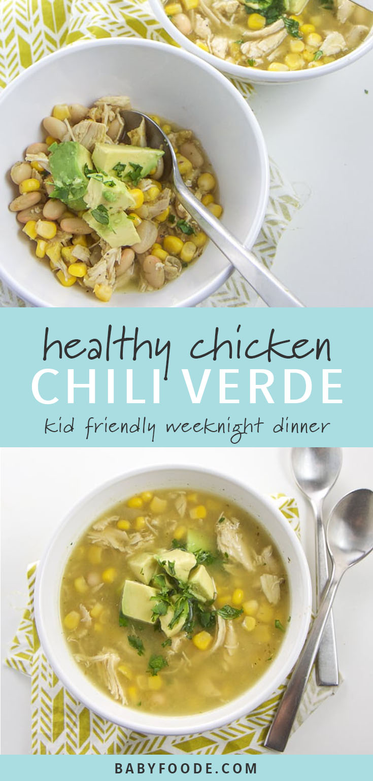 Your kids will go wild over this easy and delicious chicken chili recipe! Made with chicken, corn, beans and a tomatillo salsa verde, this easy and healthy Chicken Chili Verde is a perfect family meal for any night of the week! It's a fast and easy soup recipe that both kids and parents will devour, and can be made on the stovetop or in the crockpot for maximum flexibility. #chicken #soup