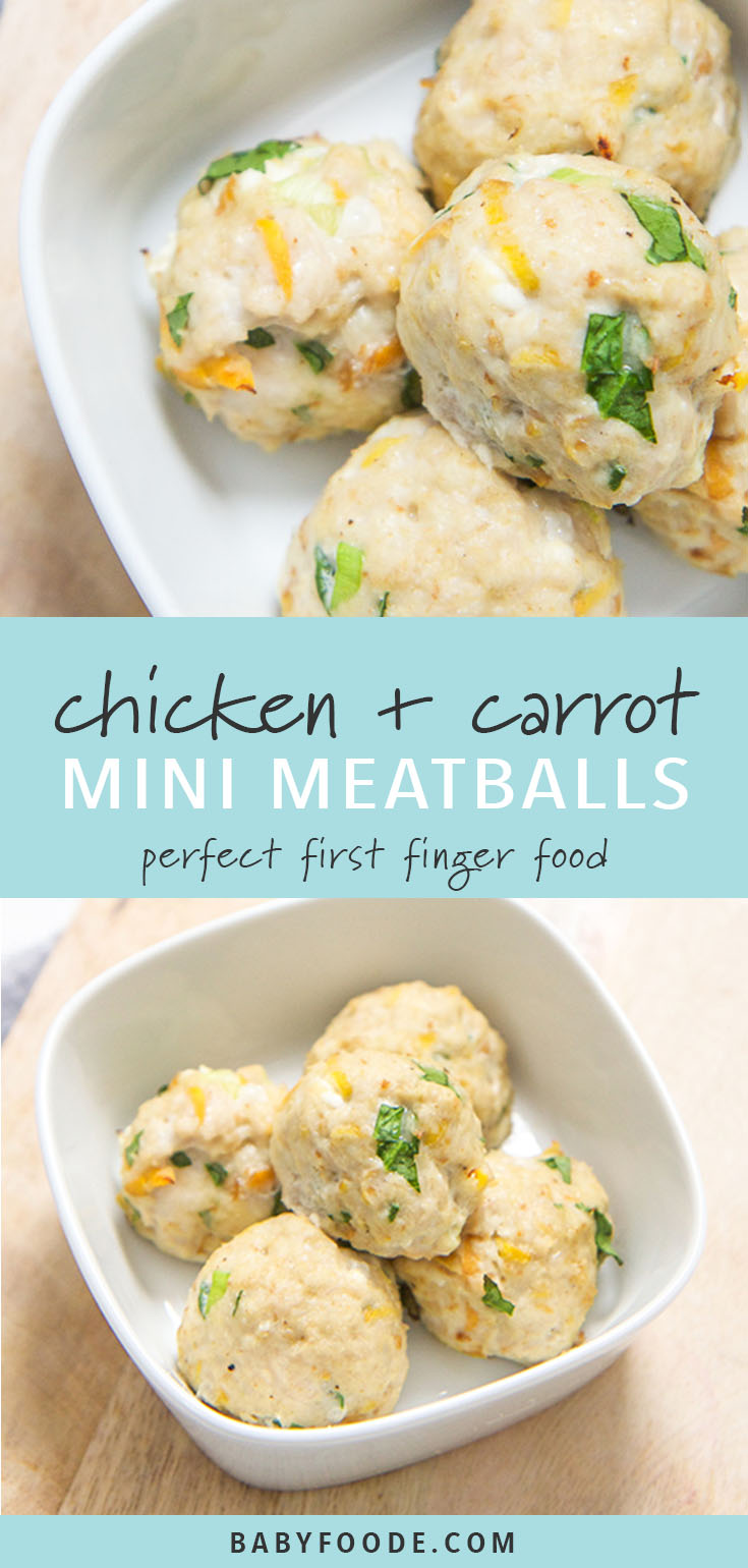 These mini chicken + carrot meatballs are a perfect first finger food for baby, but don't be surprised when the rest of the family starts popping them in their mouths as well! Filled with ground chicken, carrots, spinach and applesauce - these mini meatballs are a healthy (and completely addicting) food for baby and the entire family! #fingerfood #meatballs